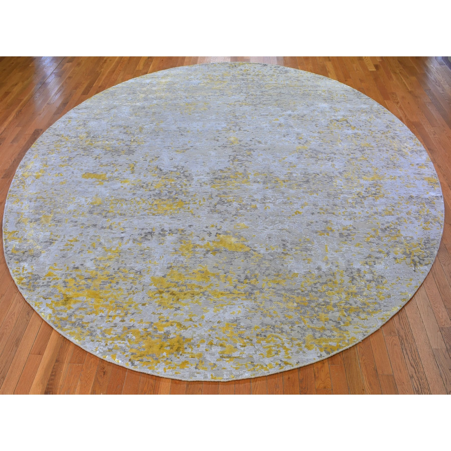 11-10 x11-10  Oversized Round Gold Hi-Lo Pile Abstract Design Wool and Silk Hand Knotted Oriental Rug