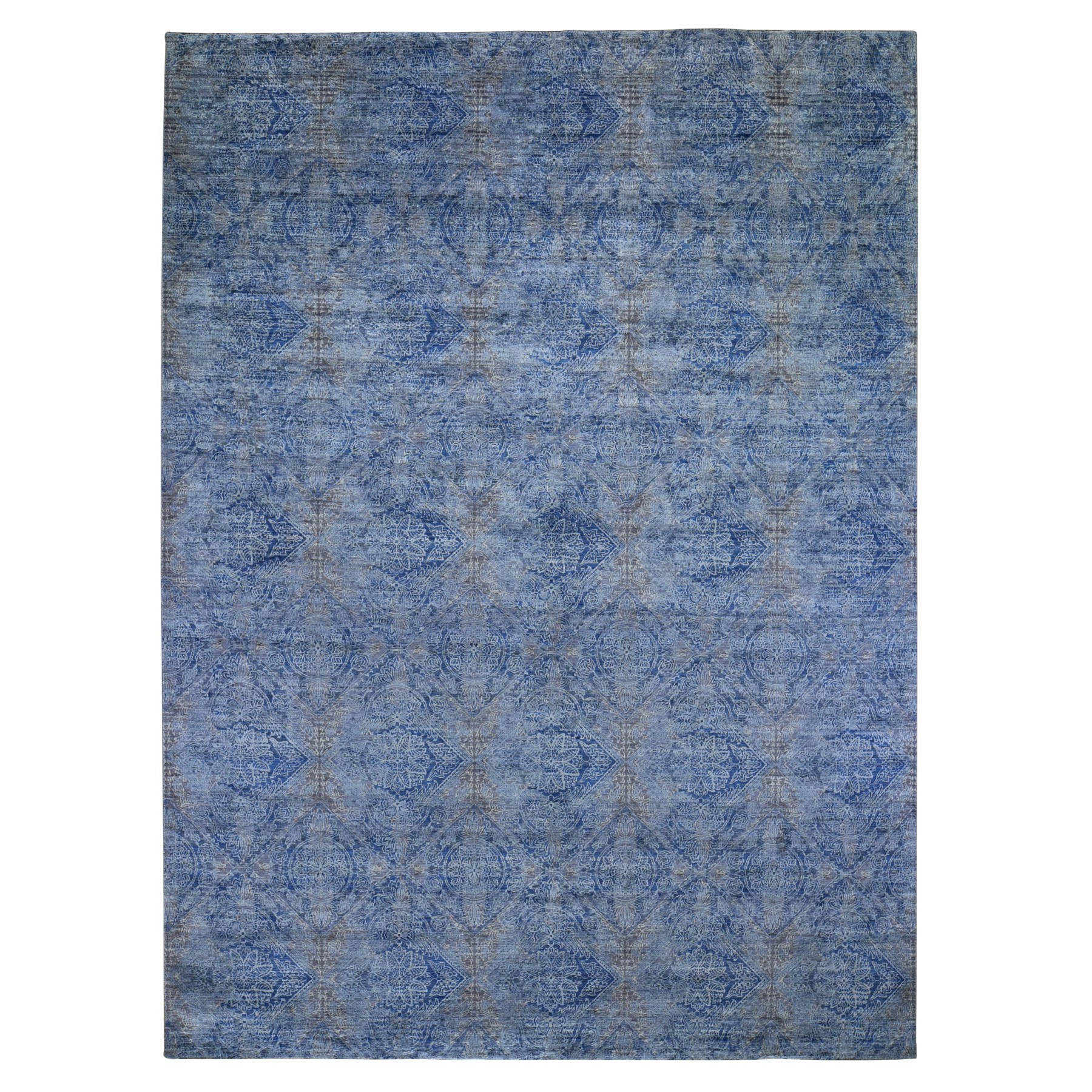 9'X12' Denim Blue Erased Rossets, Silk With Textured Wool Hand Knotted Oriental Rug moad9c9d