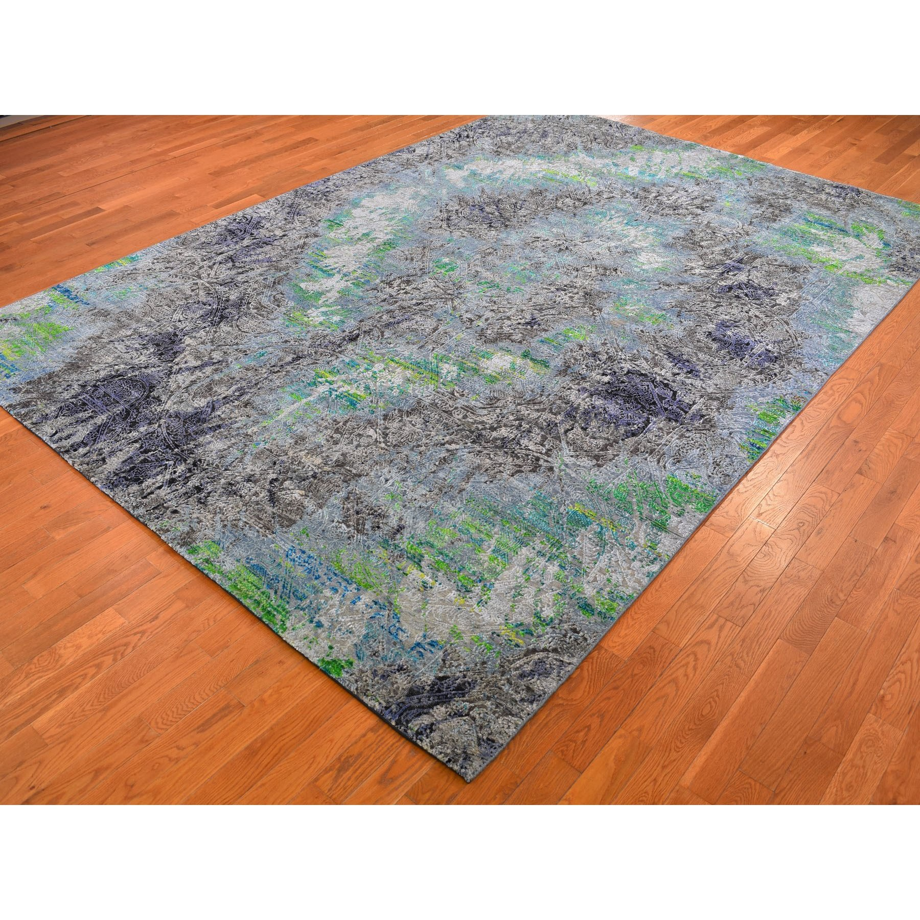 8-10 x12-5  COLORFUL DIMINISHING COINS, Sari Silk with Textured Wool Hand-Knotted Rug