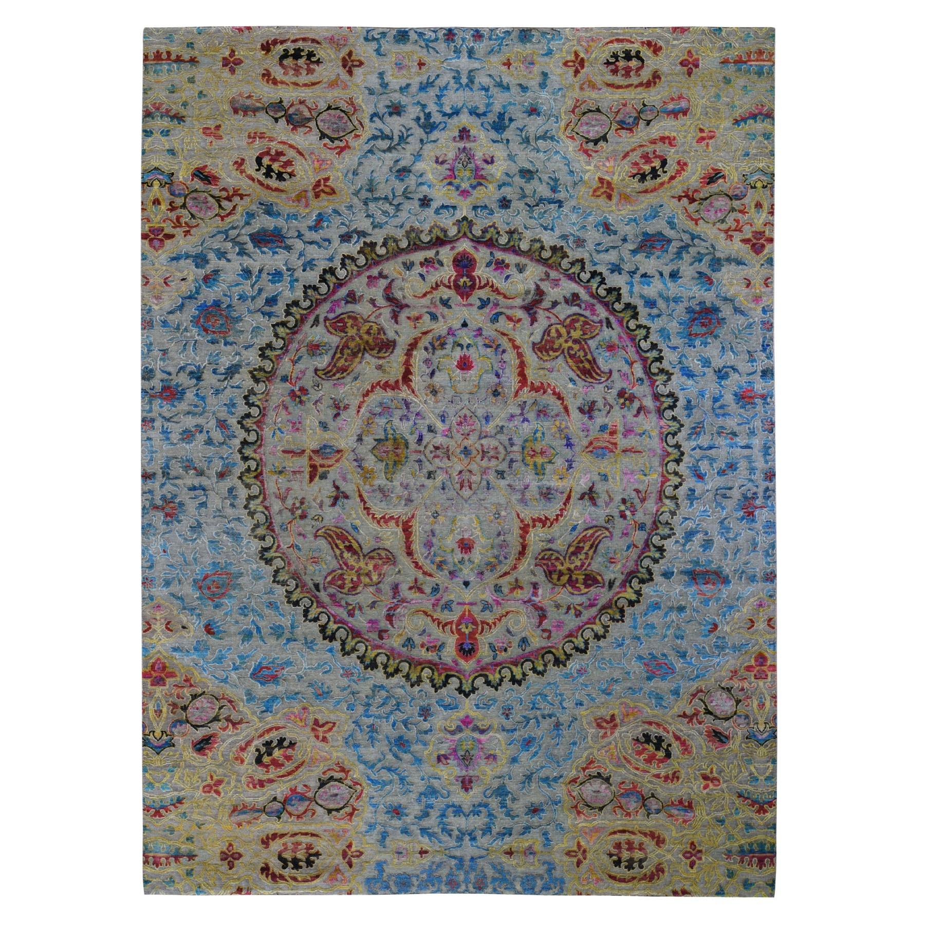 "8'10""X12'2"" Sari Silk & Textured Wool Colorful Maharaja Design Hand Knotted Oriental Rug moad9c98"