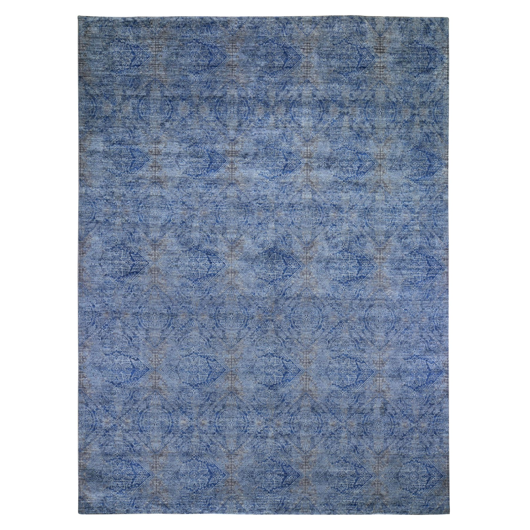"""8'9""""X12' Denim Blue Erased Rossets, Silk With Textured Wool Hand Knotted Oriental Rug moad9c99"""