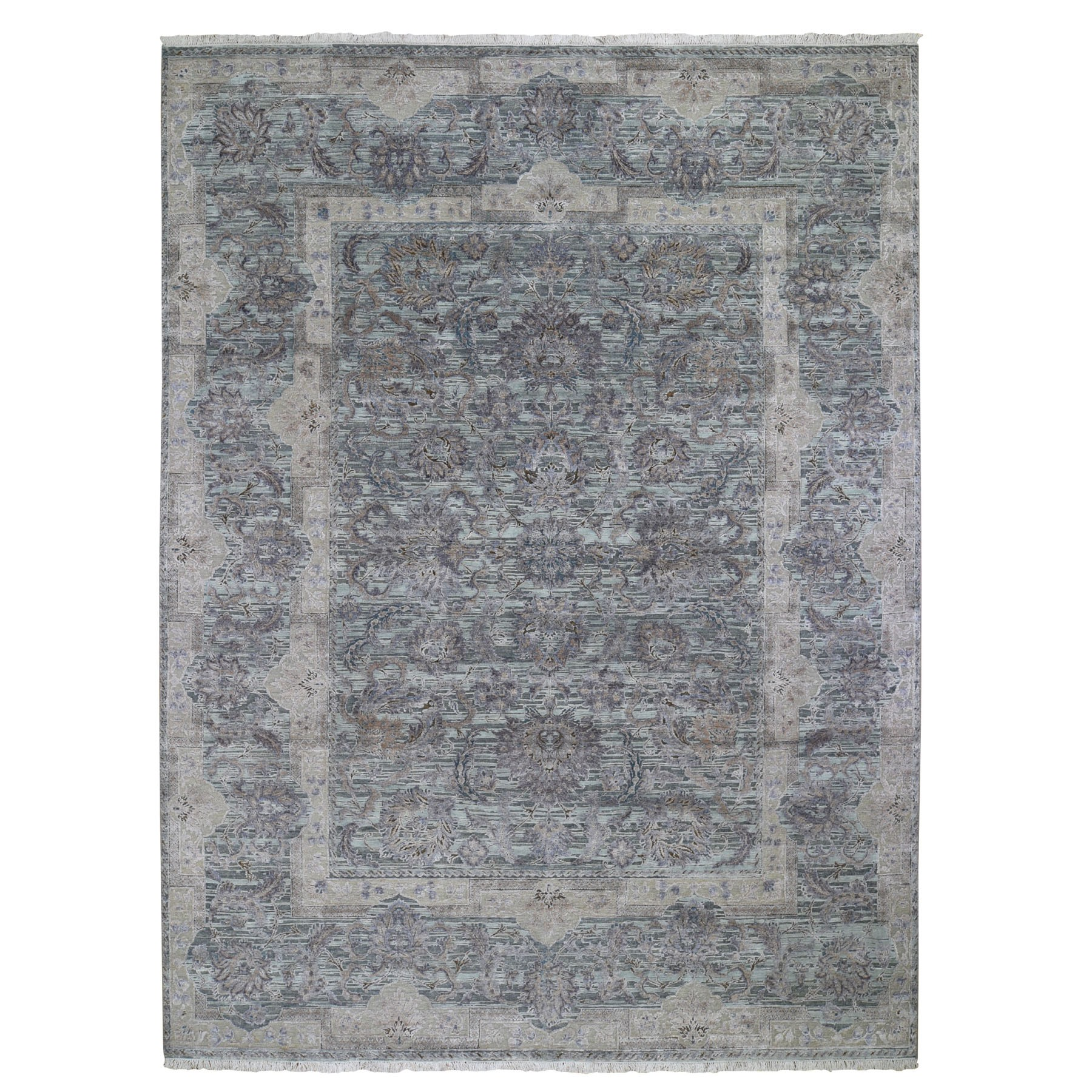 """8'10""""X11'10"""" Light Green Pure Silk With Textured Wool Mughal Design Hand Knotted Oriental Rug moad9d00"""