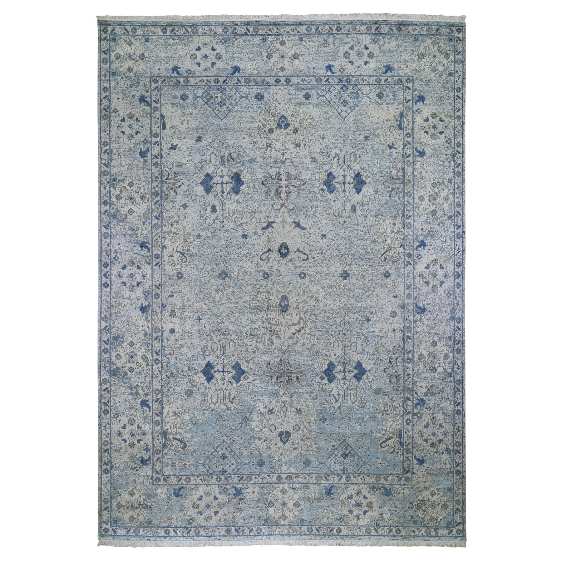 10'X14' Distressed Oushak Pure Silk With Textured Wool Hand-Knotted Oriental Rug moad9d0a