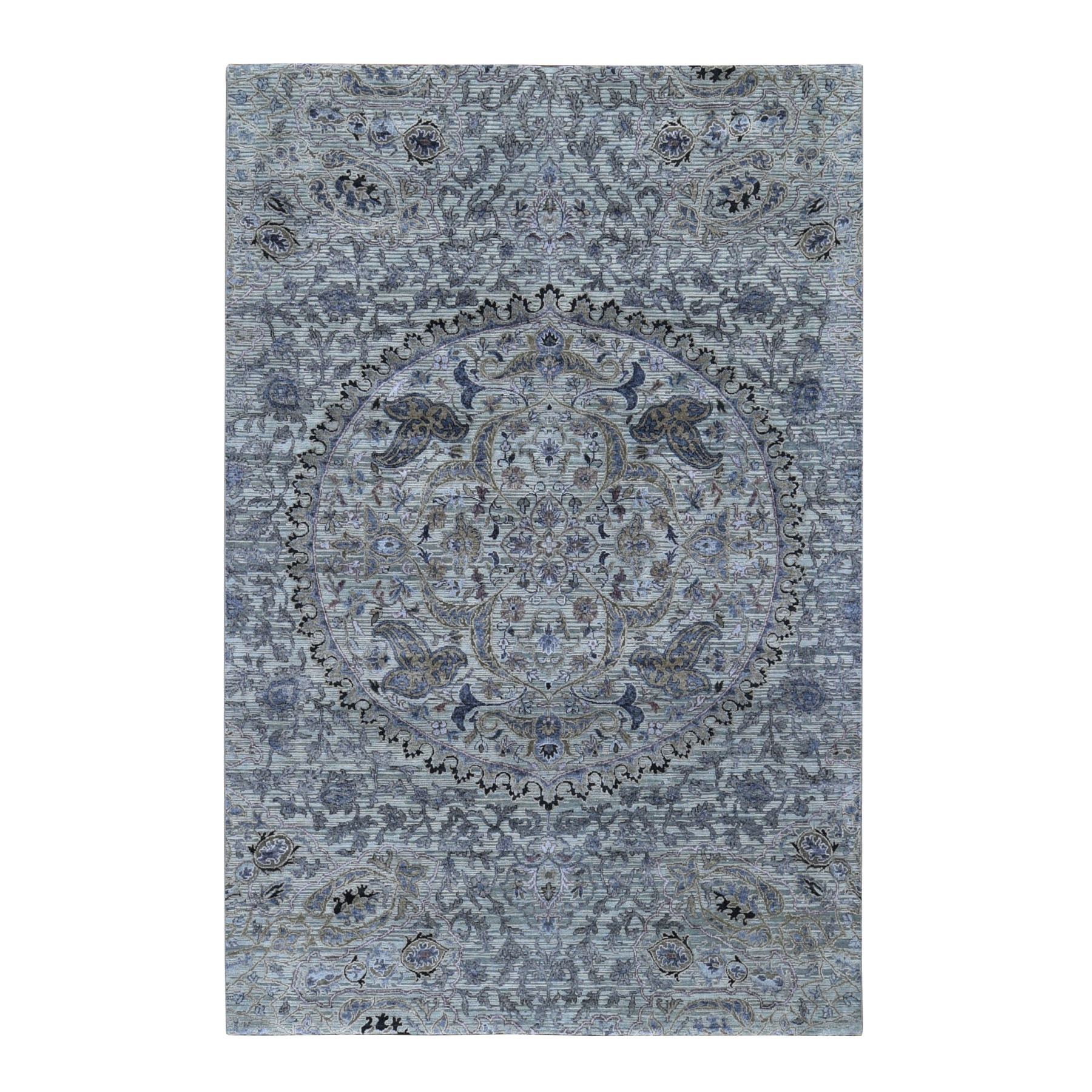 "6'1""X9'2"" The Maharaja Pure Silk With Textured Wool Hand Knotted Oriental Rug moad9d0d"