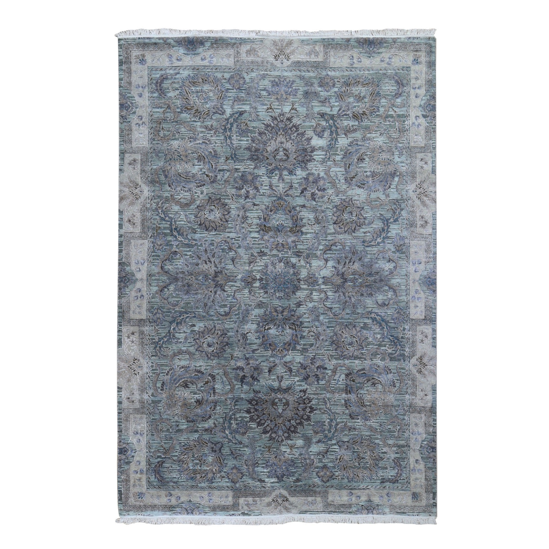 """6'1""""X9'1"""" Light Green Pure Silk With Textured Wool Mughal Design Hand Knotted Oriental Rug moad9d0e"""