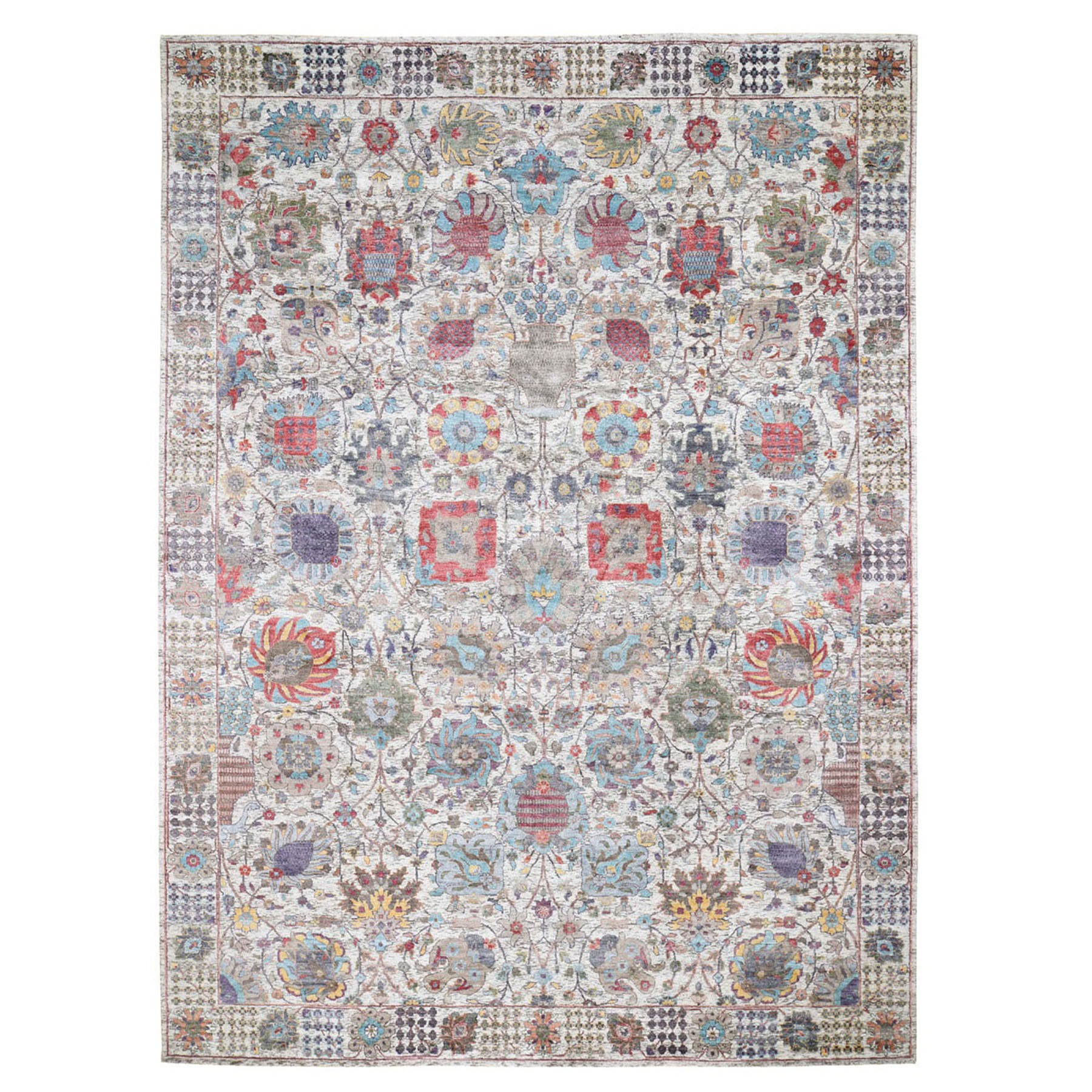 """9'X12'1"""" Ivory Silk With Textured Wool Tabriz Hand Knotted Oriental Rug moad9d07"""