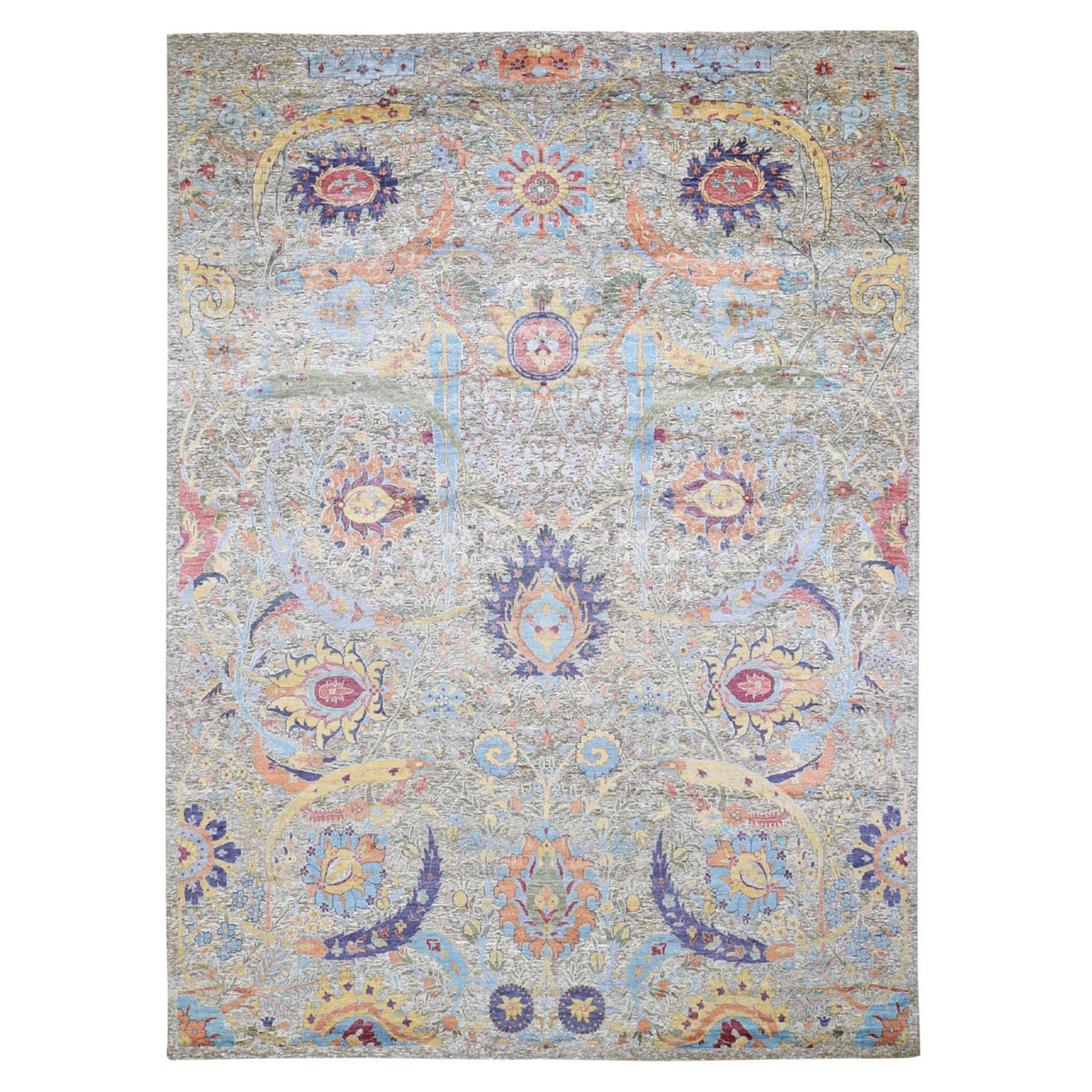 9'X12' Sickle Leaf Design Silk With Textured Wool Hand Knotted Oriental Rug moad9d08