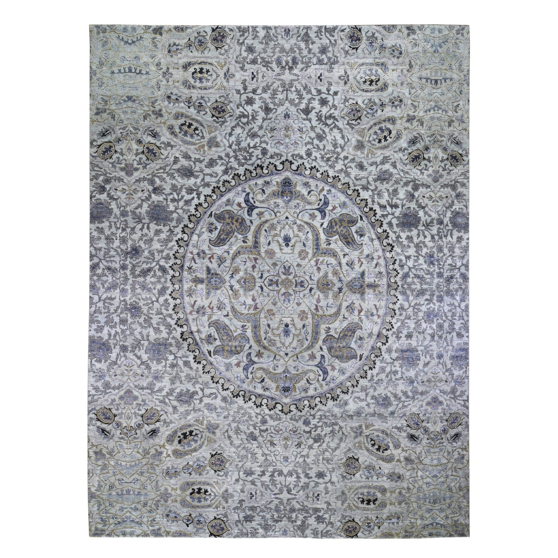 12'X15' The Maharaja,Oversized Pure Silk With Textured Wool Hand Knotted Oriental Rug moad9da0
