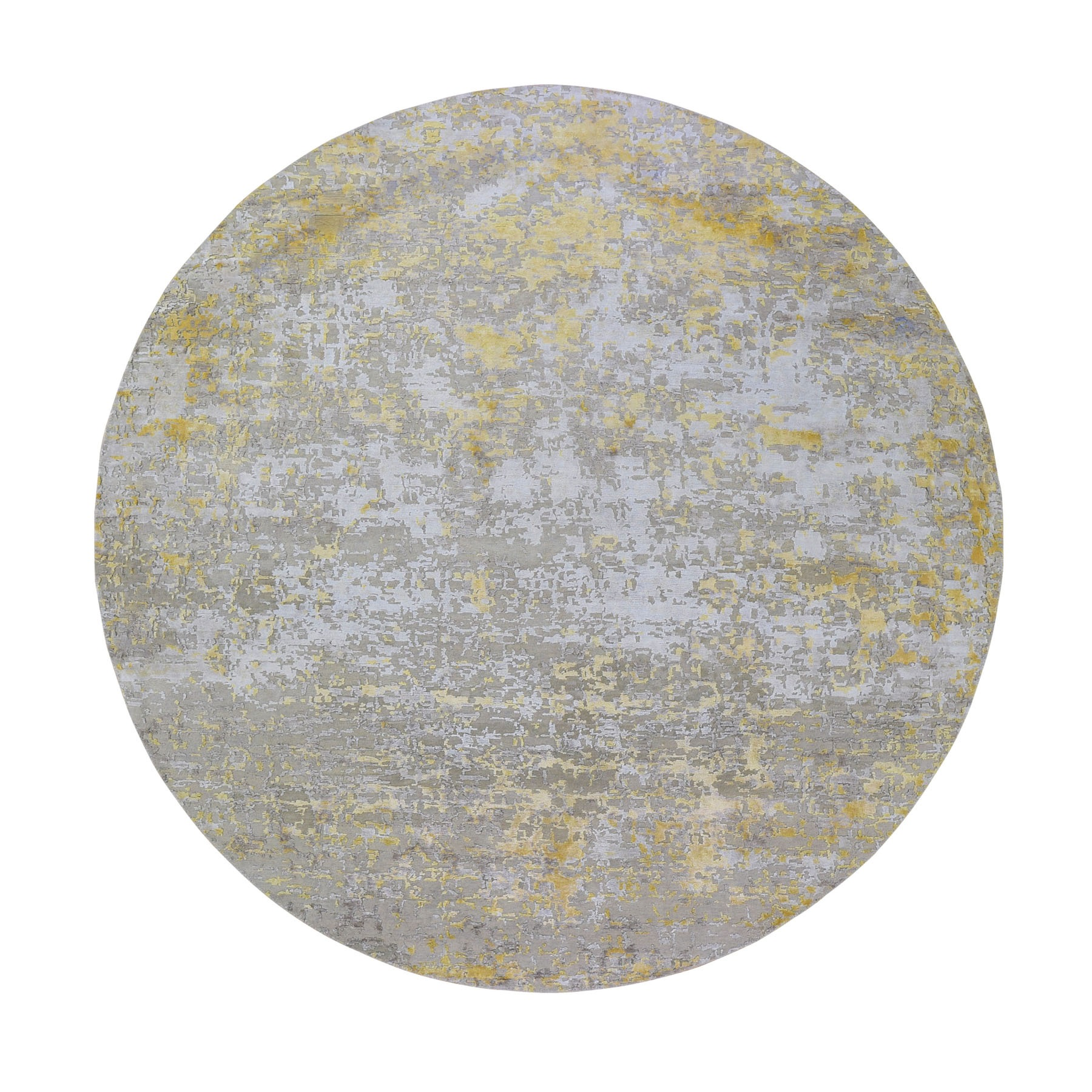 "9'9""X9'9"" Round Gold Hi-Lo Pile Abstract Design Wool And Silk Hand Knotted Oriental Rug moad9dab"