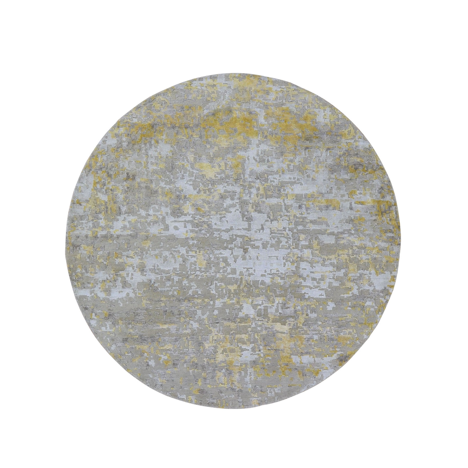 "5'9""X5'9"" Round Gold Hi-Lo Pile Abstract Design Wool And Silk Hand Knotted Oriental Rug moad9dac"