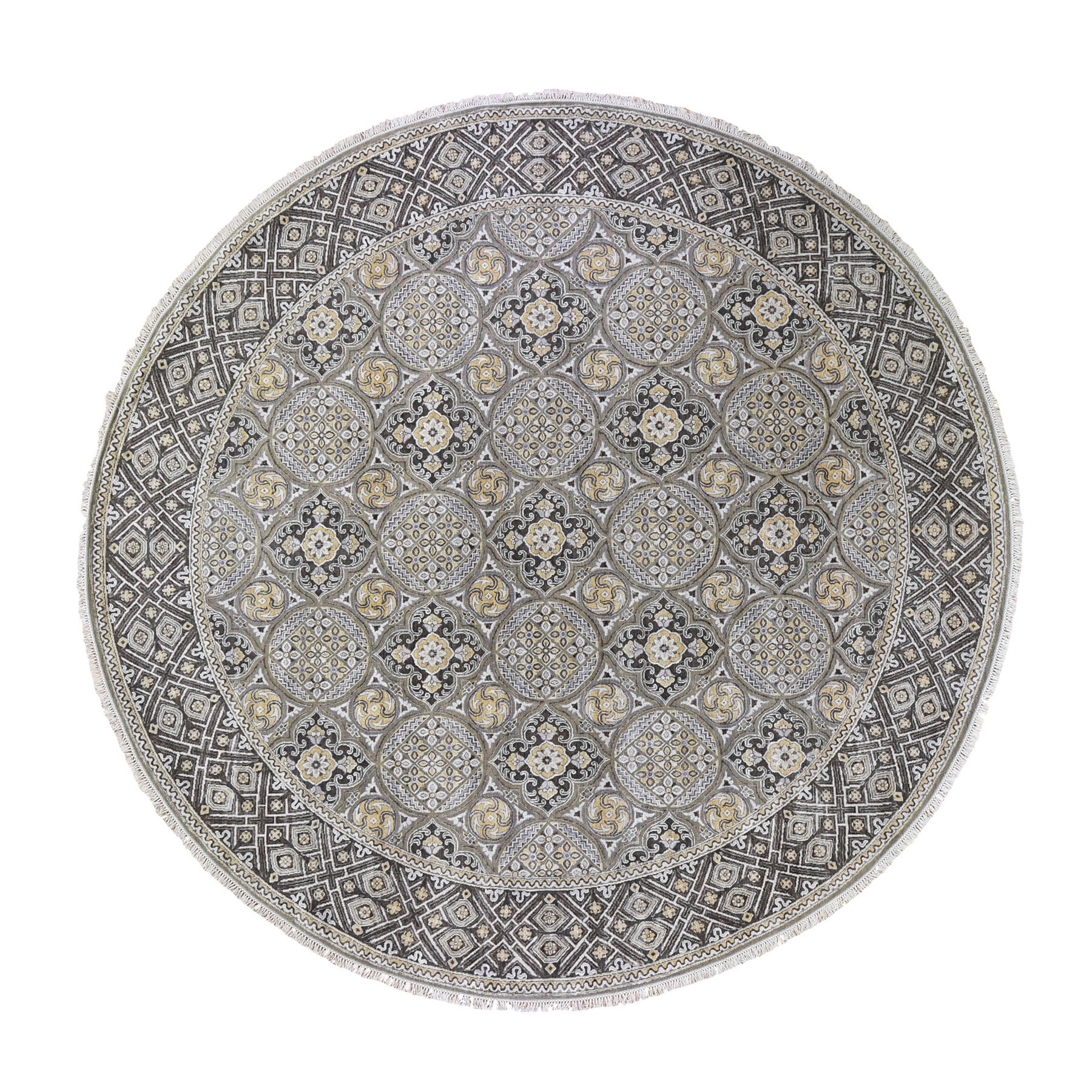 "12'1""X12'5"" Oversized Round Silk With Textured Wool Mughal Inspired Medallions Hand Knotted Oriental Rug moad9dad"