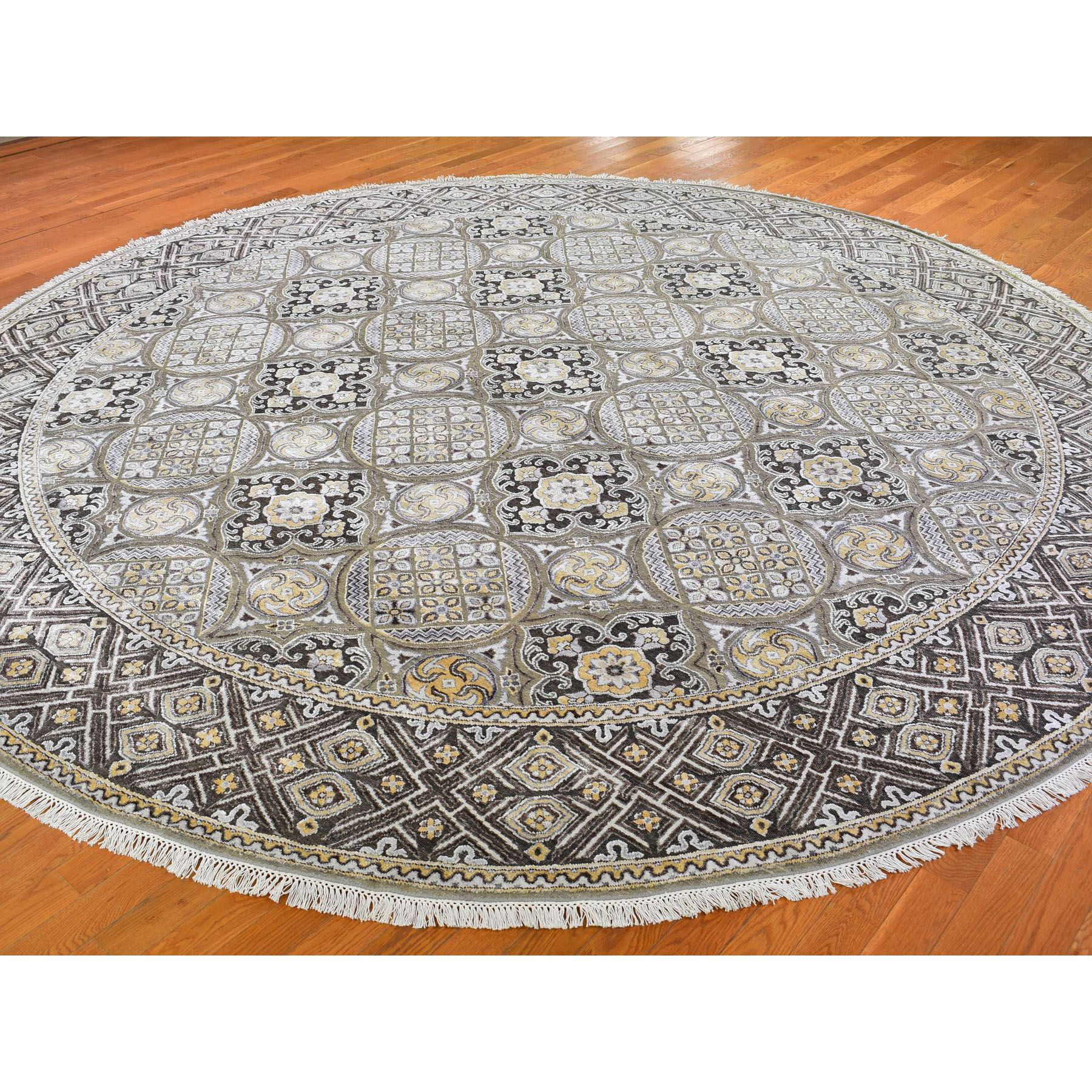 12-1 x12-5  Oversized Round Silk With Textured Wool Mughal Inspired Medallions Hand Knotted Oriental Rug