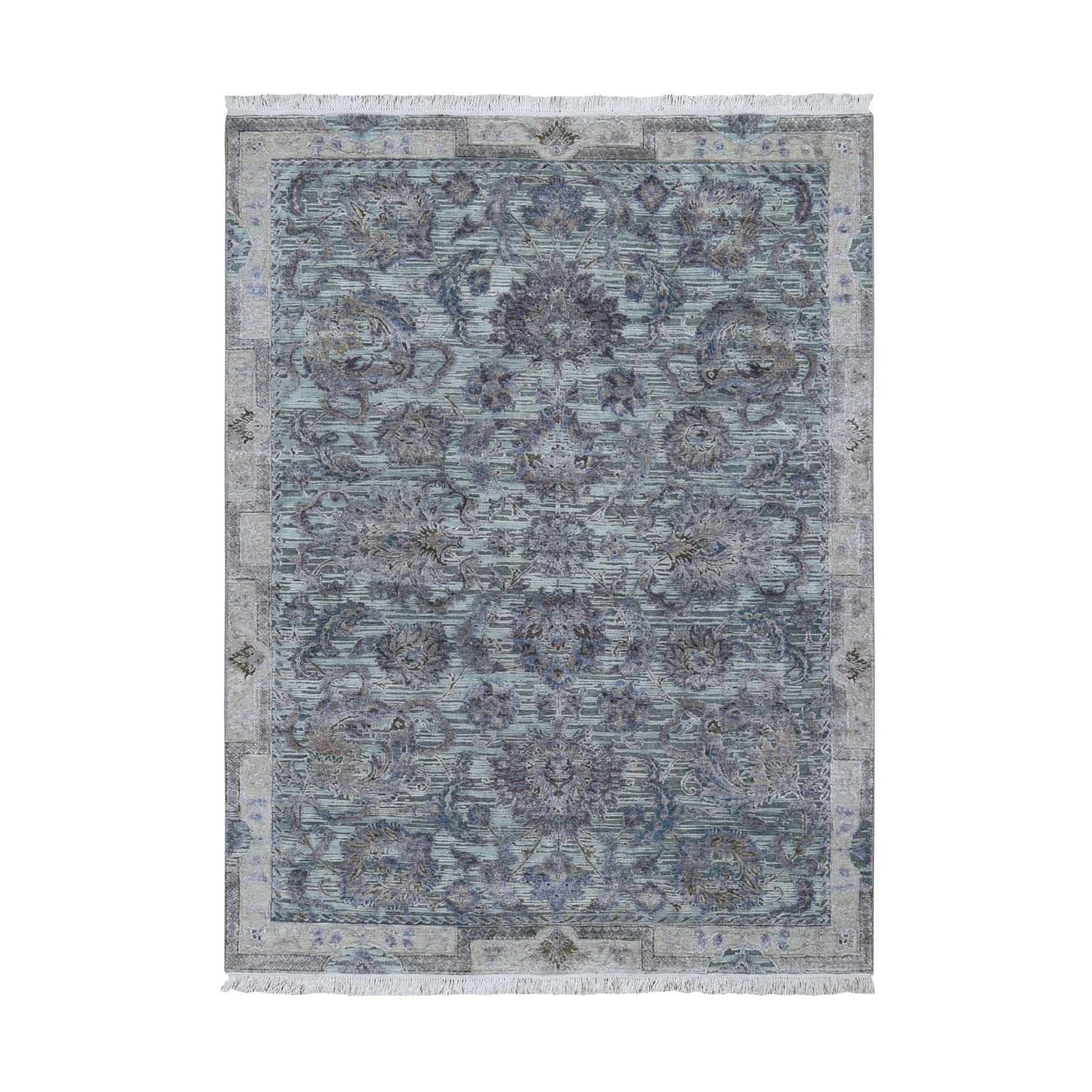 "5'X6'10"" Light Green Pure Silk With Textured Wool Mughal Design Hand Knotted Oriental Rug moad9dae"