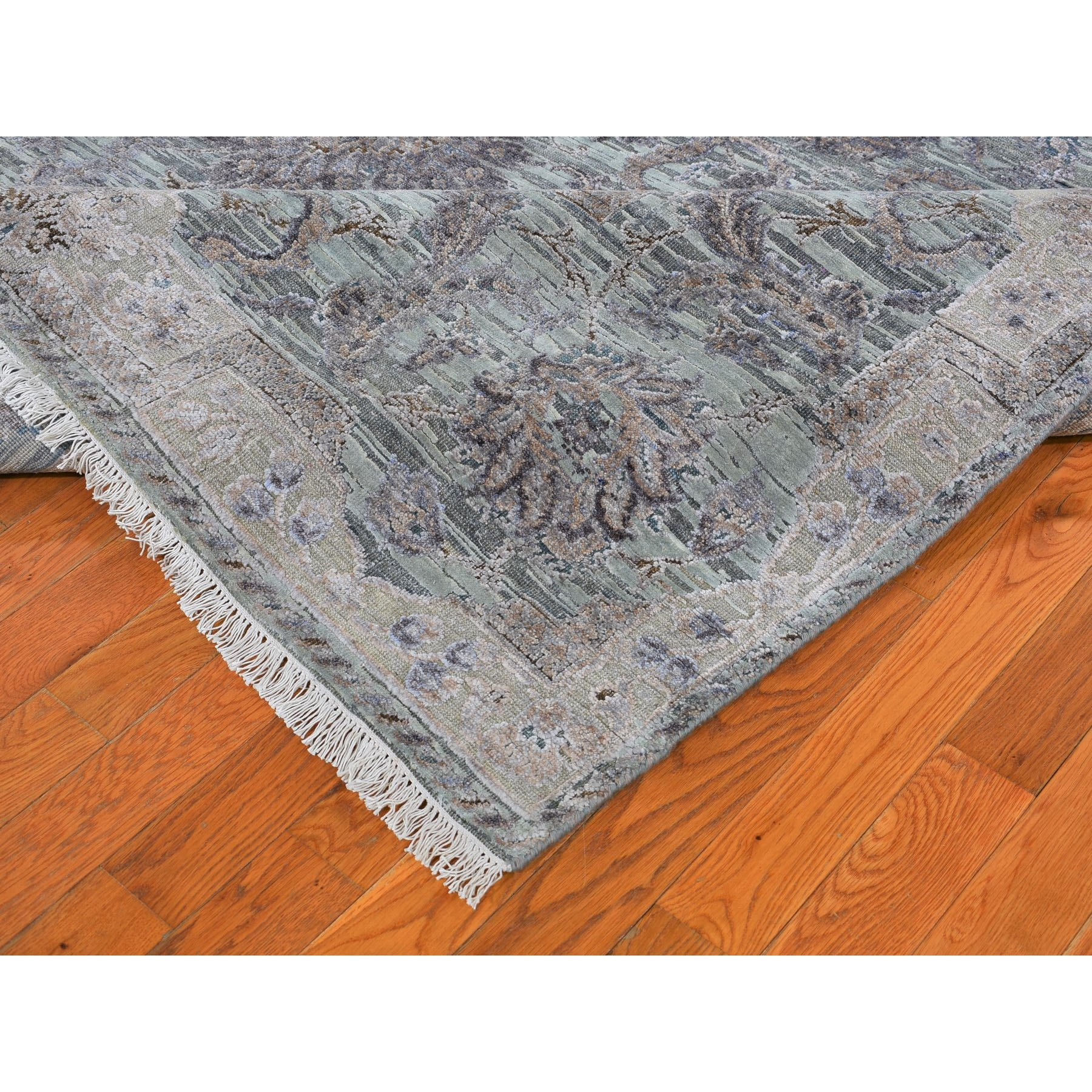 5-x6-10  Light Green Pure Silk With Textured Wool Mughal Design Hand Knotted Oriental Rug