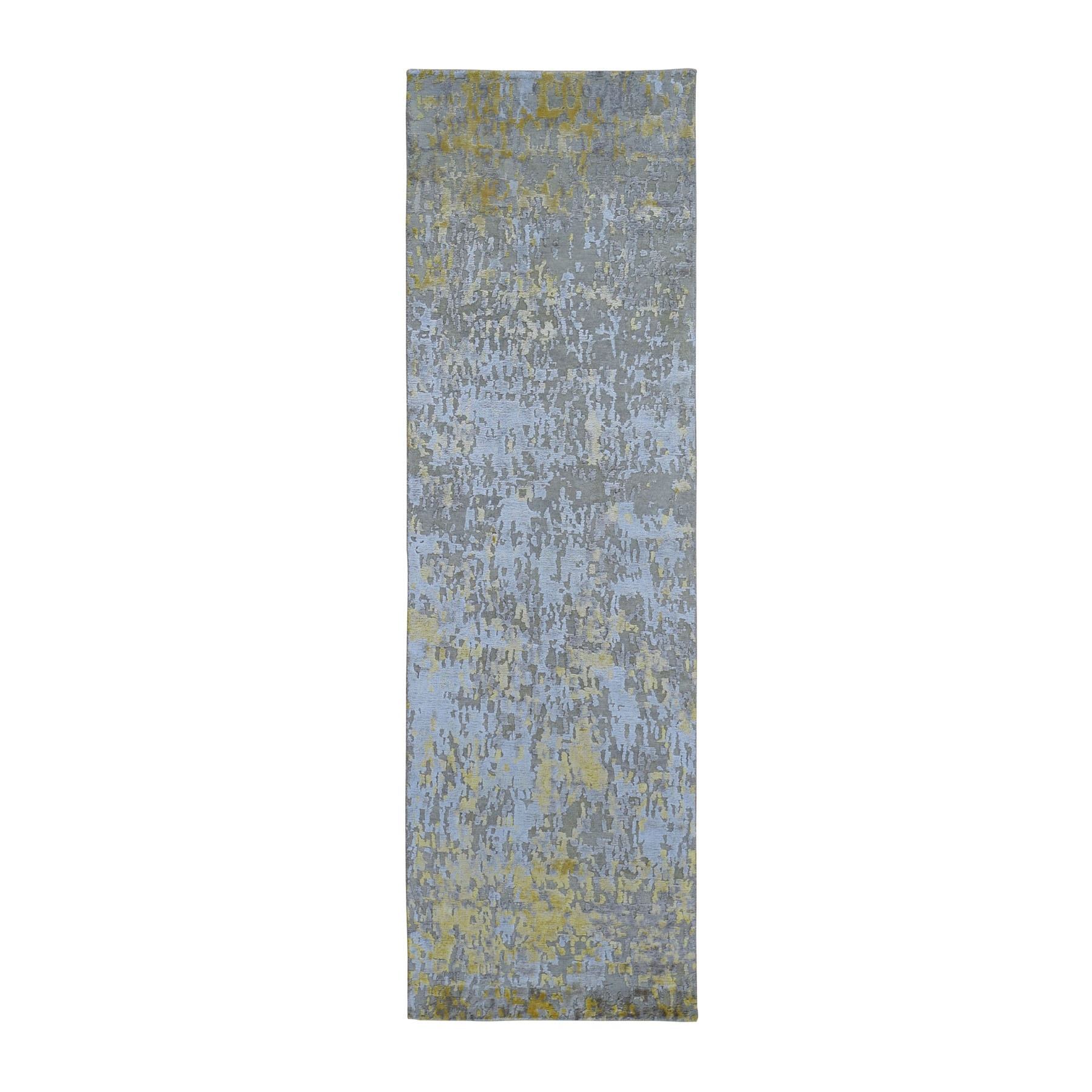 "2'4""X7'10"" Gold Hi-Lo Pile Abstract Design Wool And Silk Runner Hand Knotted Oriental Rug moad9da9"