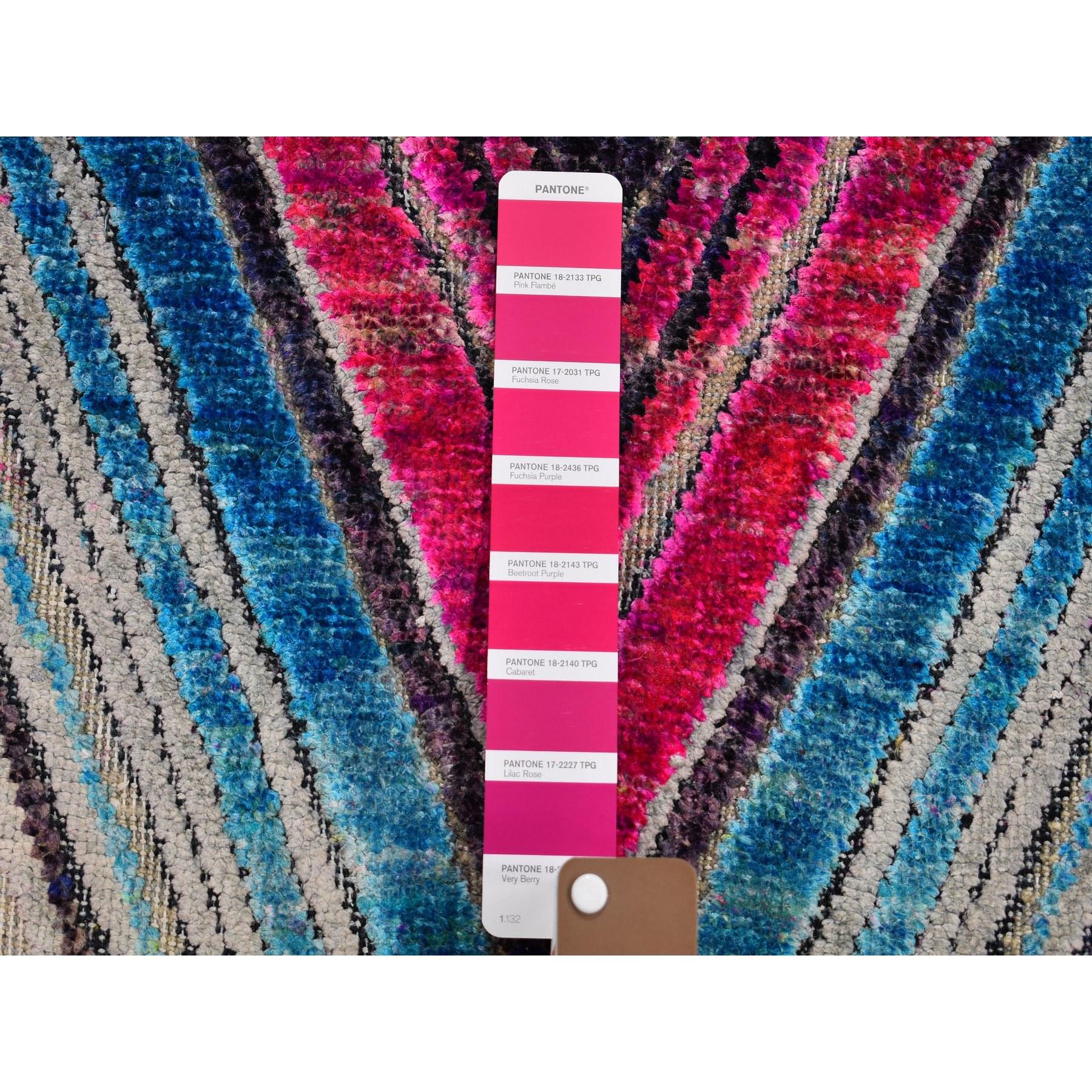 3-x7-10  Chevron Design Sari Silk With Textured Wool Hand Knotted Runner Oriental Rug