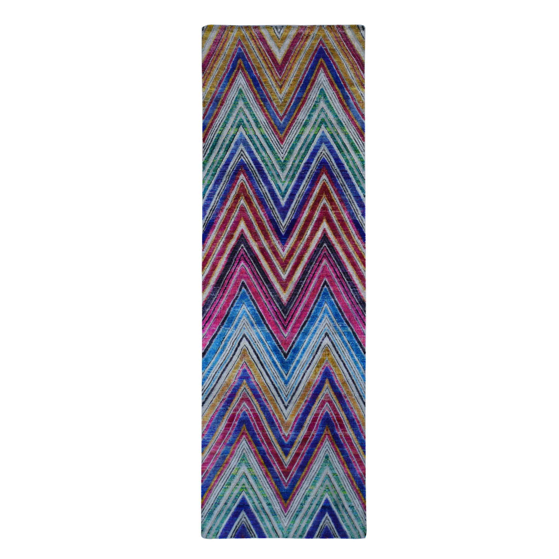 "3'X10'2"" Chevron Design Sari Silk With Textured Wool Hand Knotted Runner Oriental Rug moad9dbc"