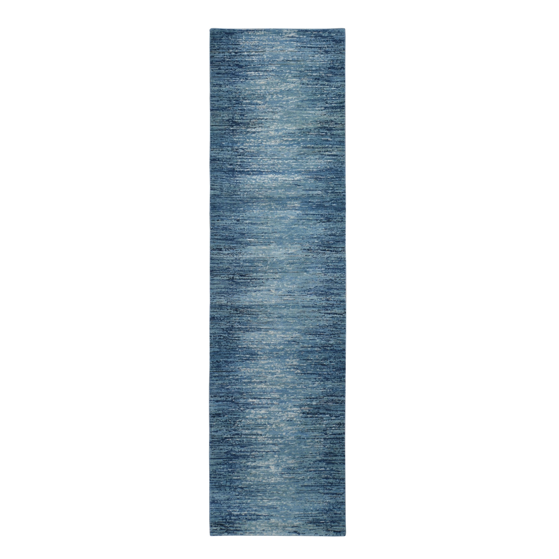 """2'6""""X9'10"""" Zero Pile Pure Wool Blue Oceanic Ombre Design Runner Hand Knotted Oriental Rug moad9dbd"""
