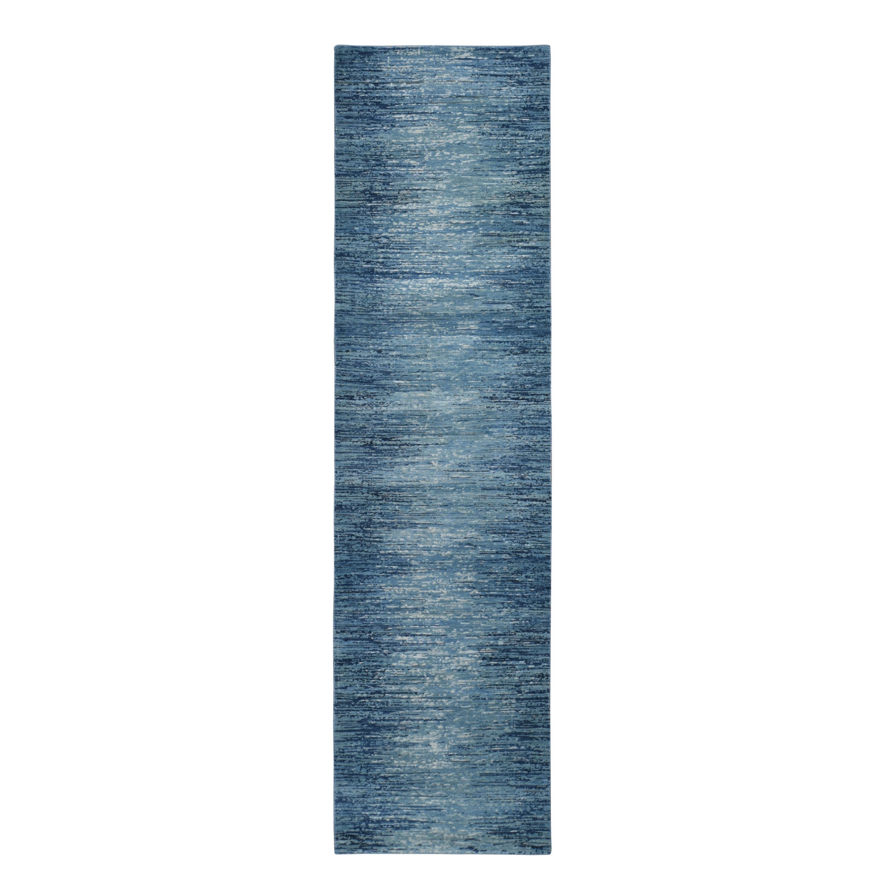 """2'6""""X9'10"""" Zero Pile Pure Wool Blue Oceanic Ombre Design Runner Hand Knotted Oriental Rug moad9dbe"""
