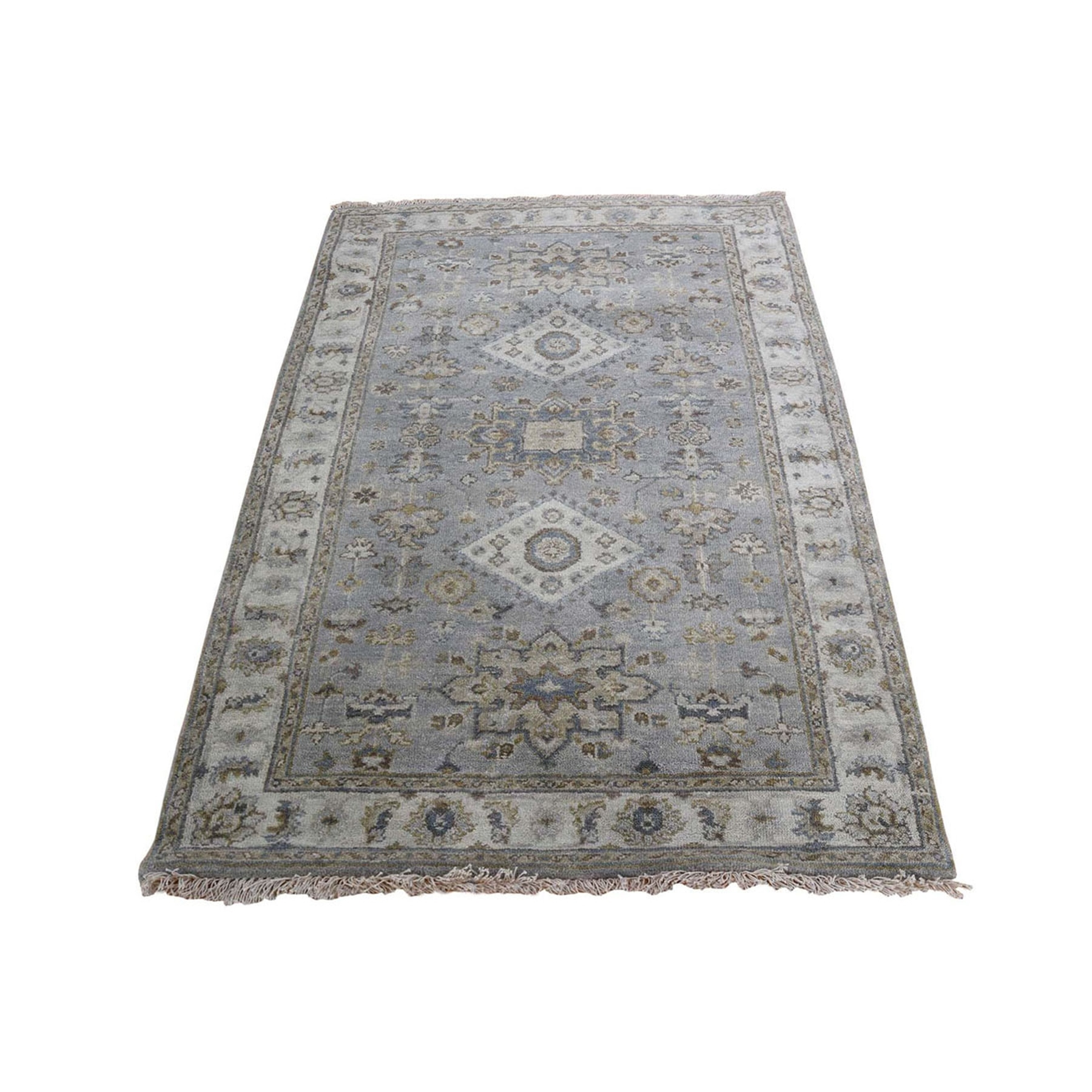 "3'1""x5' Gray Karajeh Design Pure Wool Hand Knotted Oriental Rug"