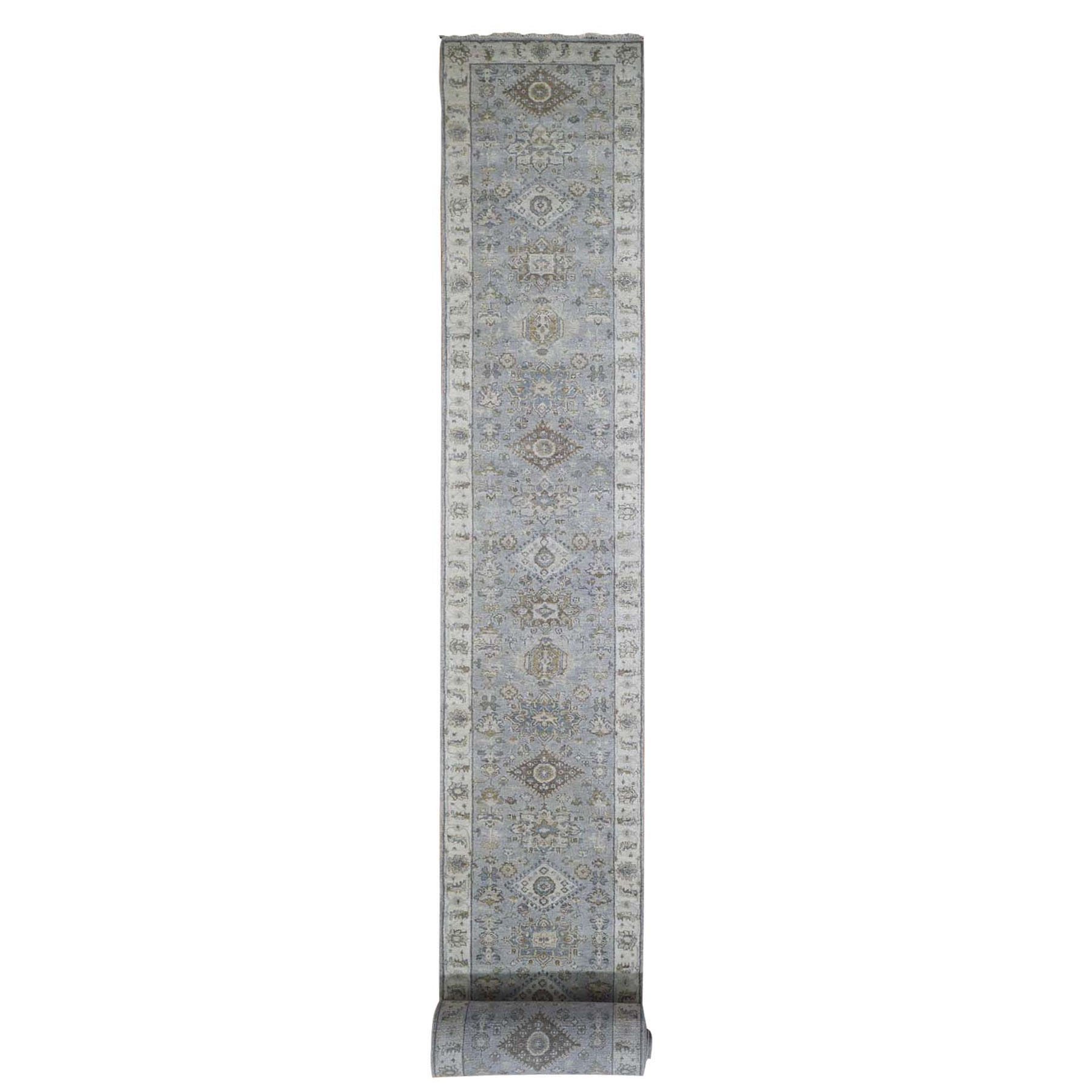 "2'8""X22' Gray Karajeh Design Pure Wool Hand Knotted Xl Runner Oriental Rug moad9dce"