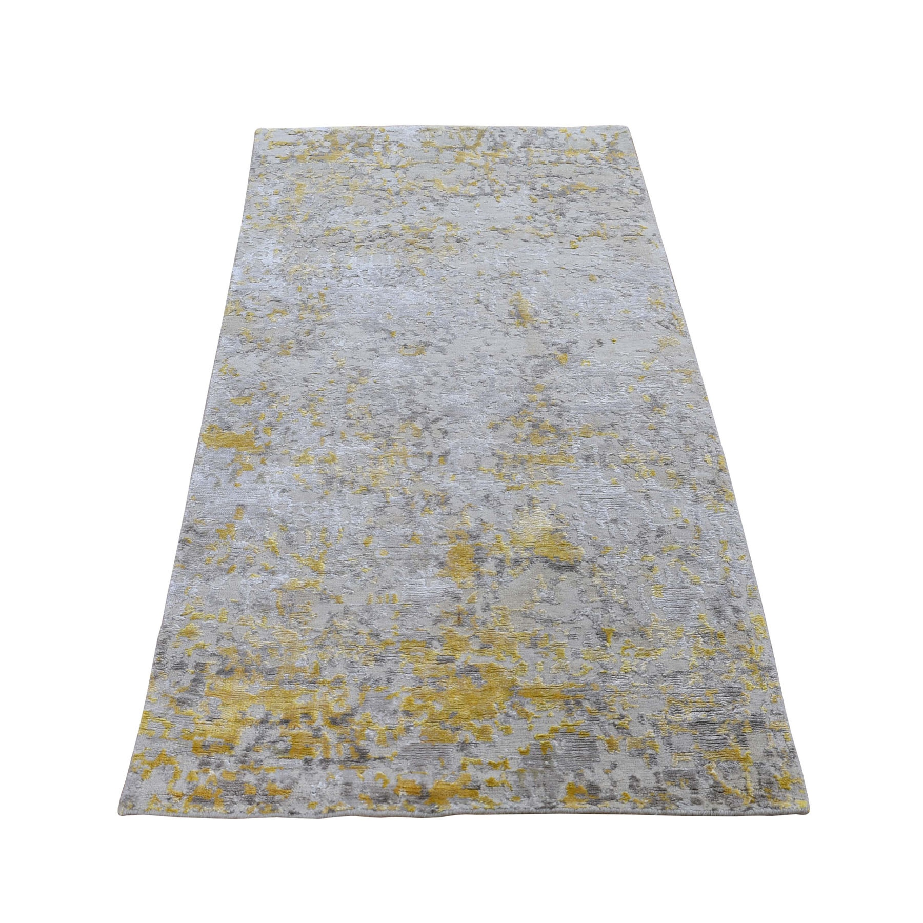 "2'6""X6' Gold Hi-Lo Pile Abstract Design Wool And Silk Runner Hand Knotted Oriental Rug moad9dd0"