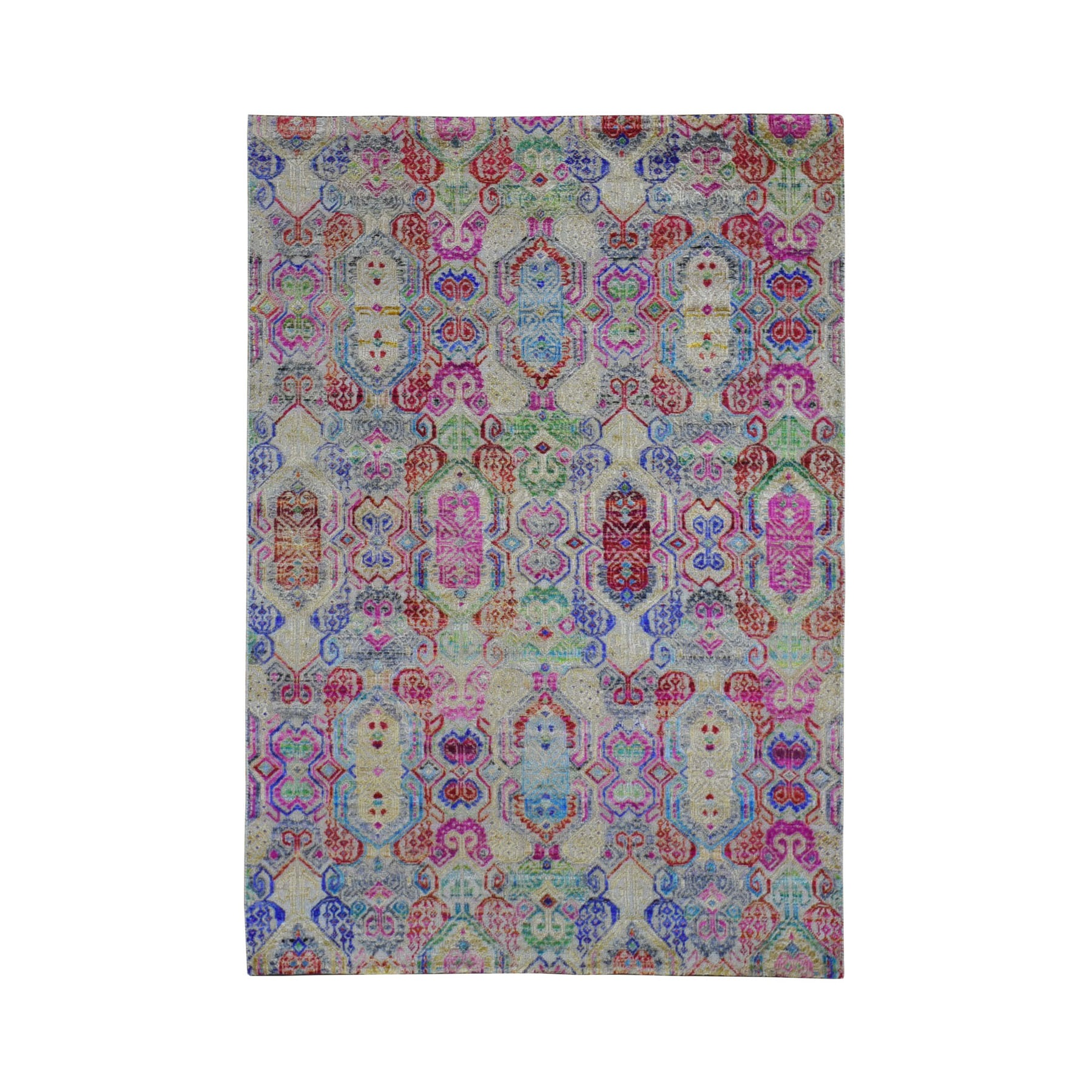 """4'X5'10"""" Multicolor Jewellery Design Sari Silk With Textured Wool Hand Knotted Oriental Rug moad9ddc"""