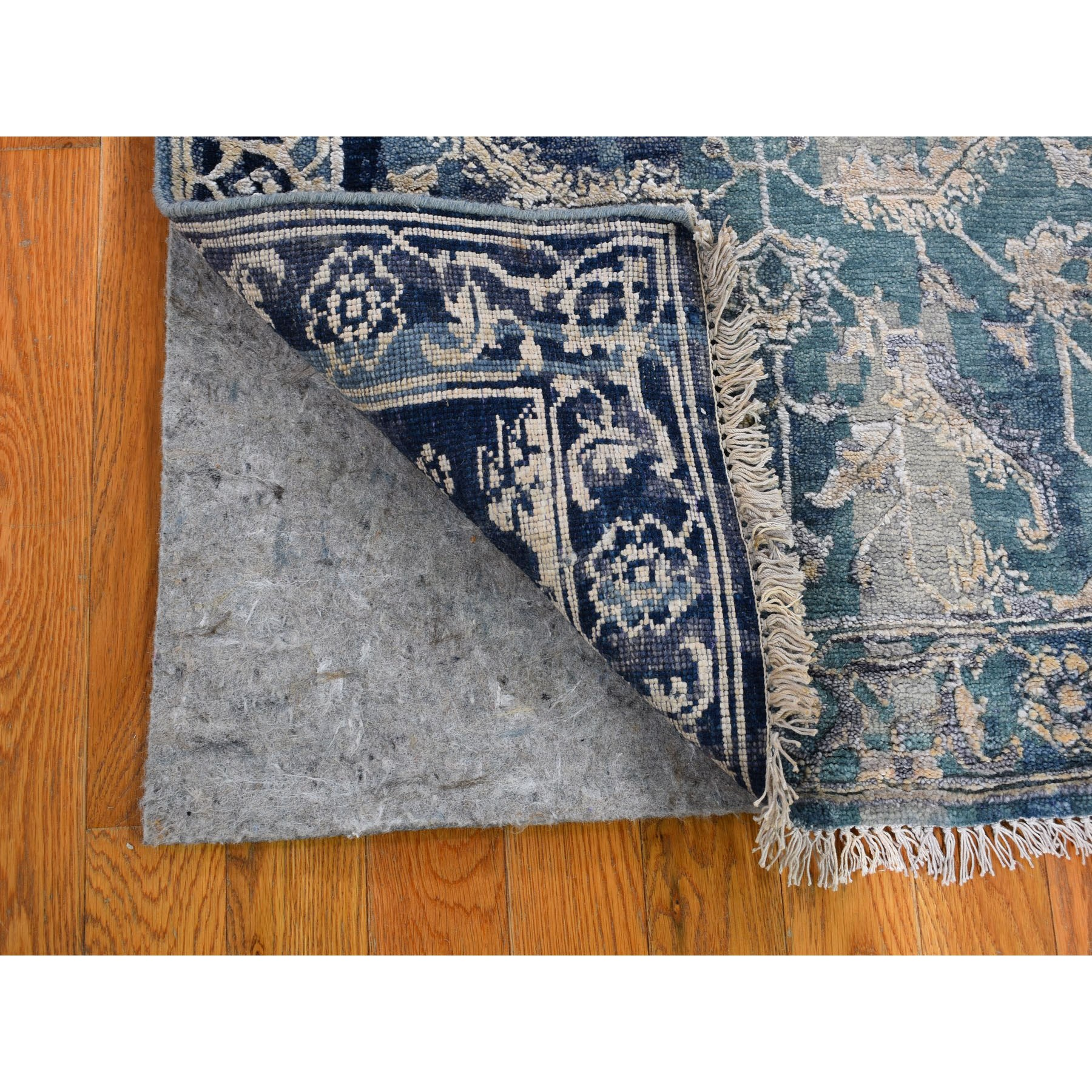 2-7 x24- Broken Persian Heriz All Over Design Wool And Silk Hand Knotted XL Runner Oriental Rug
