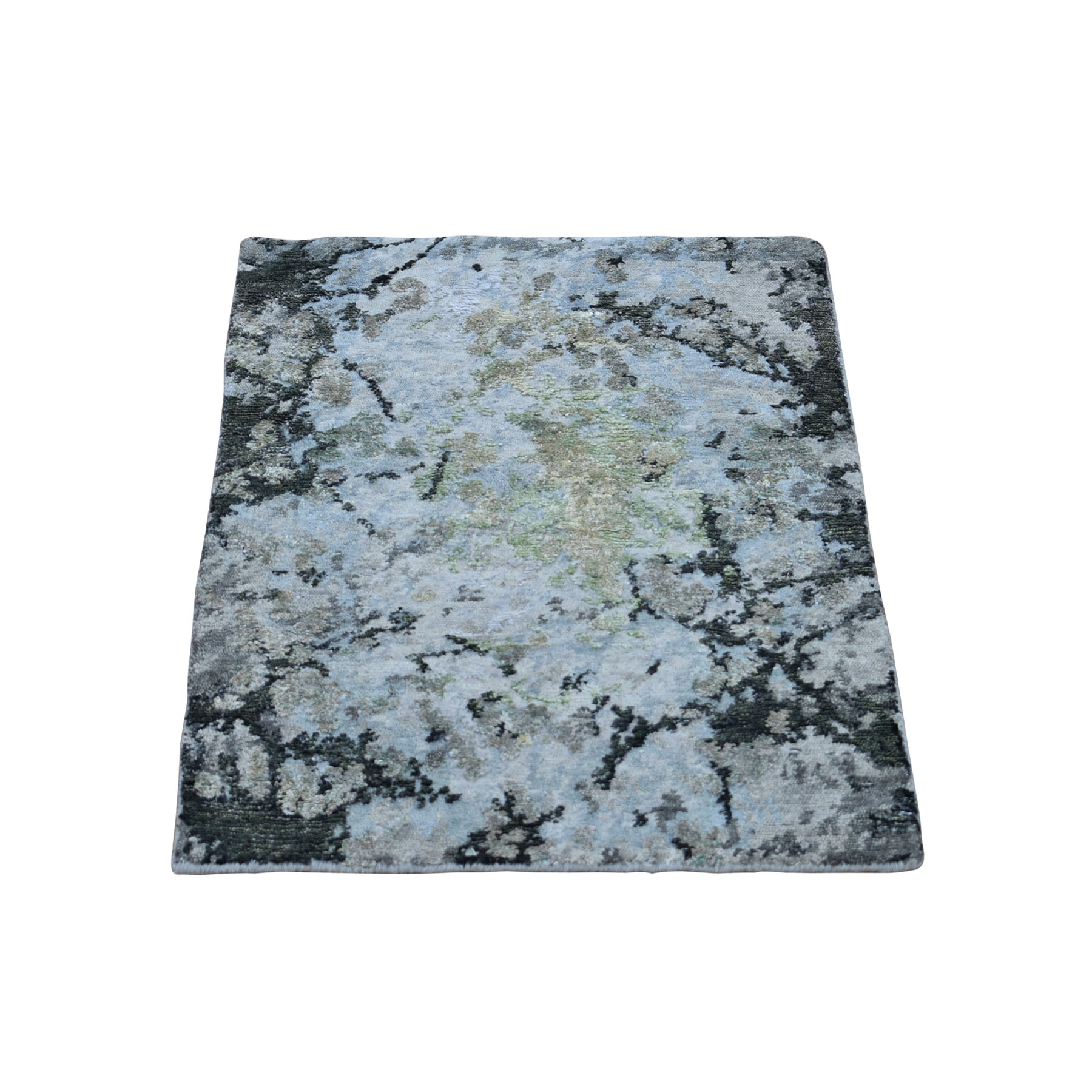 2'x3' Green Hi-Lo Pile Abstract Design Wool And Silk Hand Knotted Oriental Rug 49446