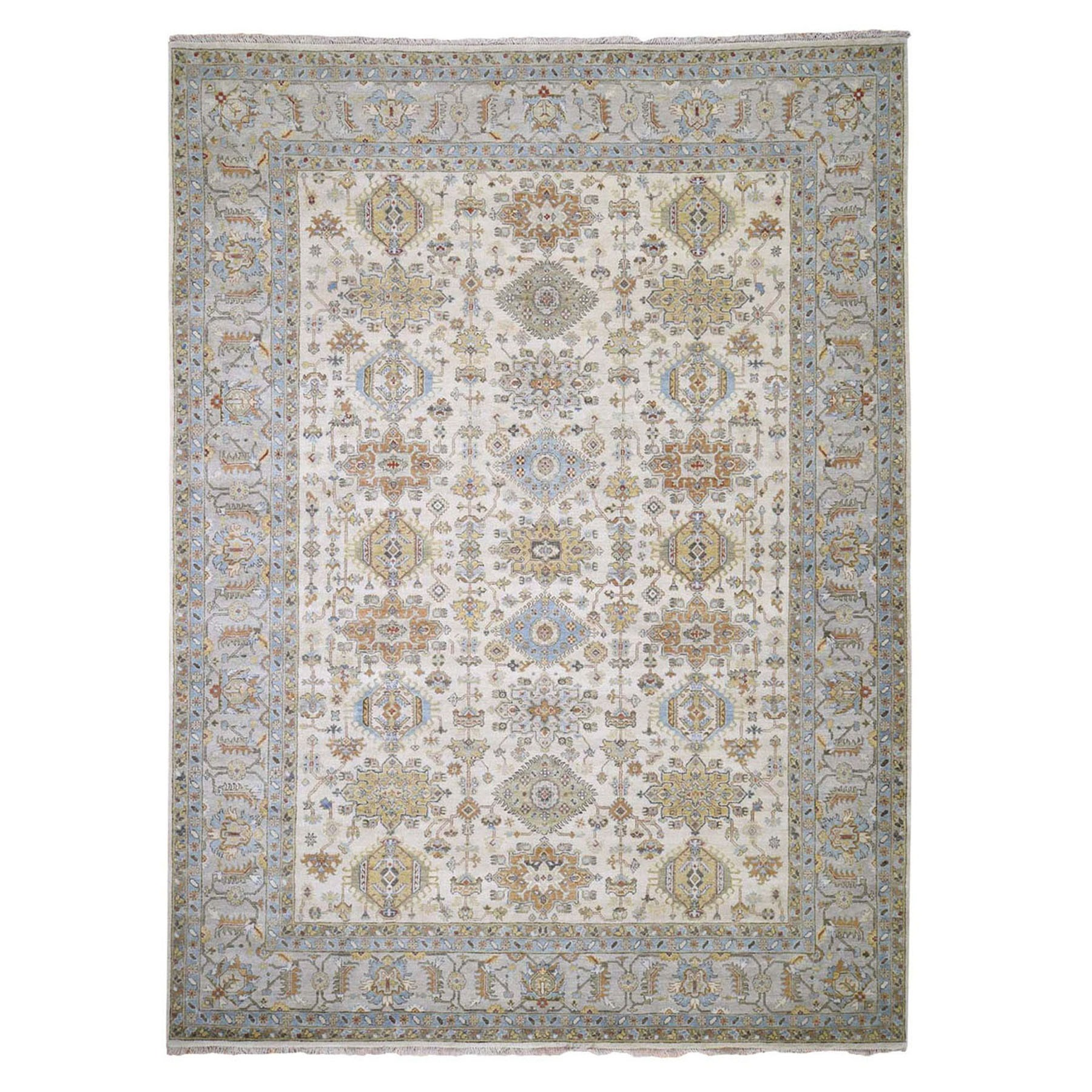 9'x12' Ivory Karajeh Design Pure Wool Hand Knotted Oriental Rug