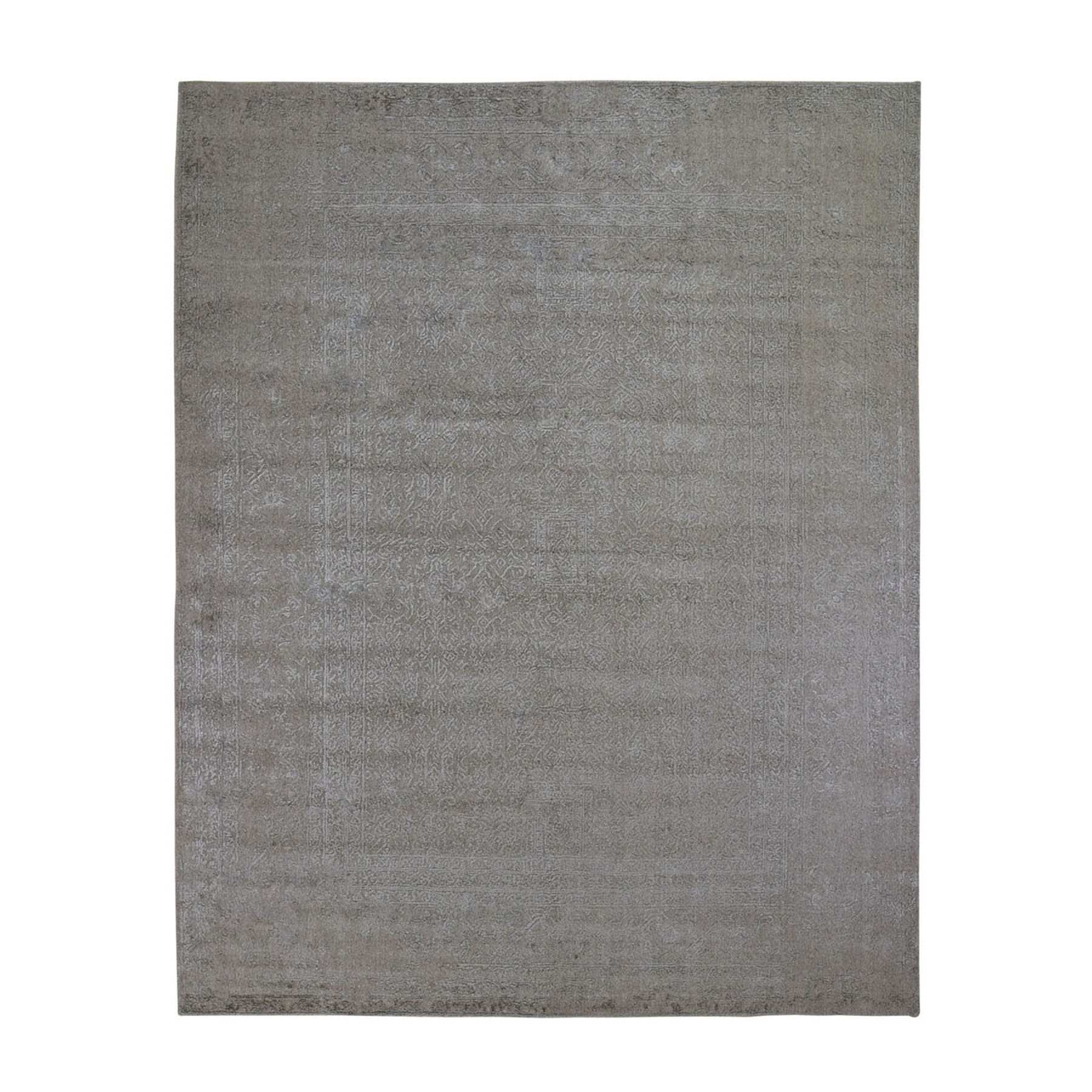 """7'10""""X10' Taupe Fine Jacquard Hand Loomed Modern Wool And Art Silk Oriental Rug moad9dea"""