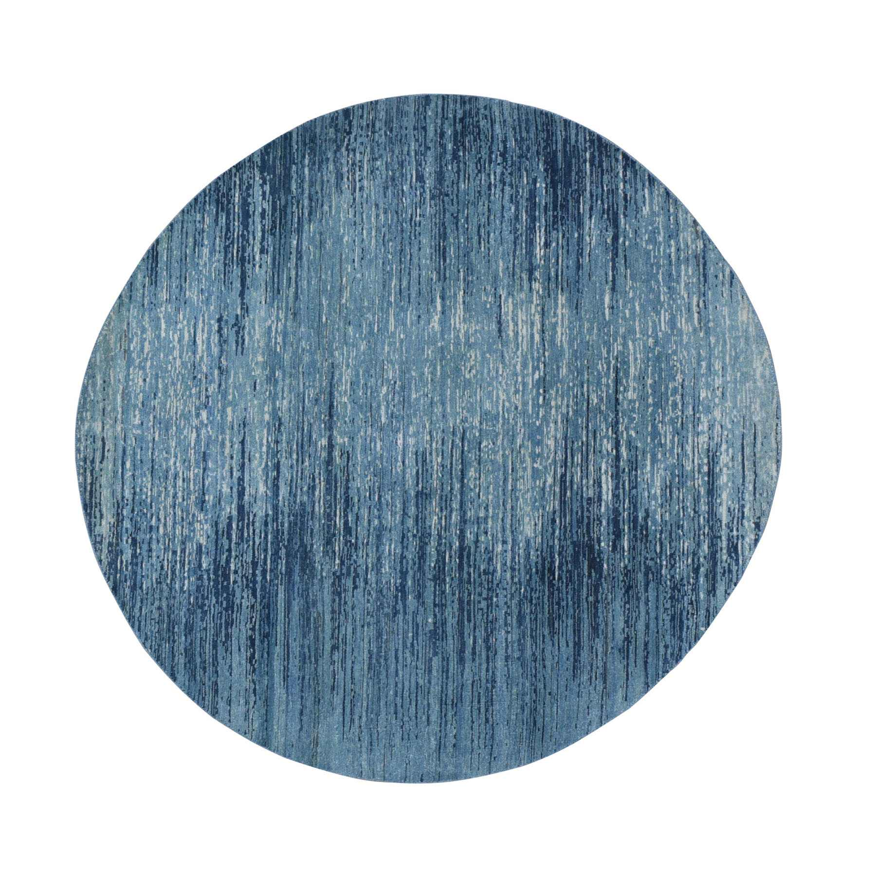 6'X6' Zero Pile Pure Wool Blue Oceanic Ombre Design Round Hand Knotted Oriental Rug moad9ded