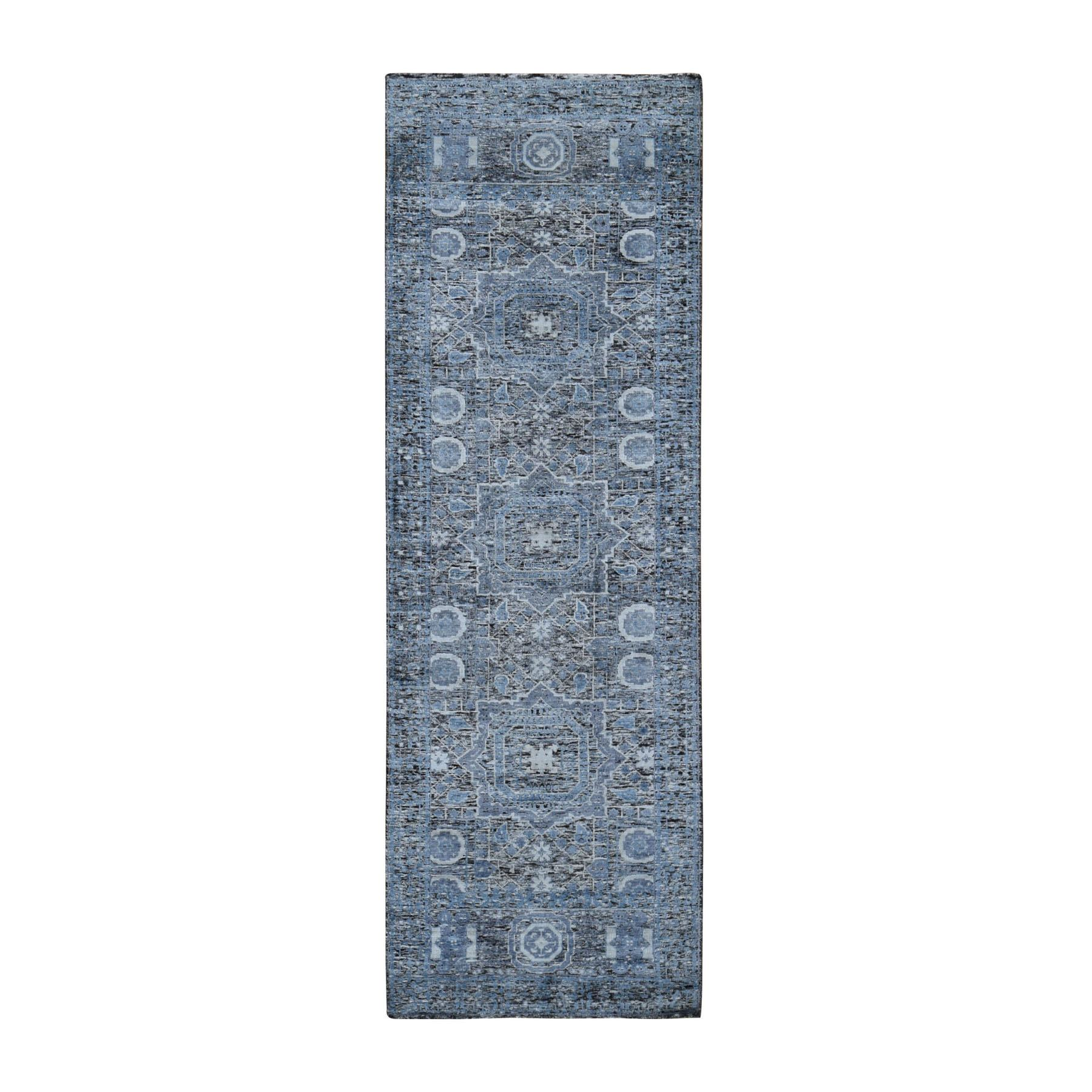 "2'7""x8'1"" Silk With Textured Wool Hi-Low Pile Mamluk Design Hand Knotted Runner Oriental Rug"