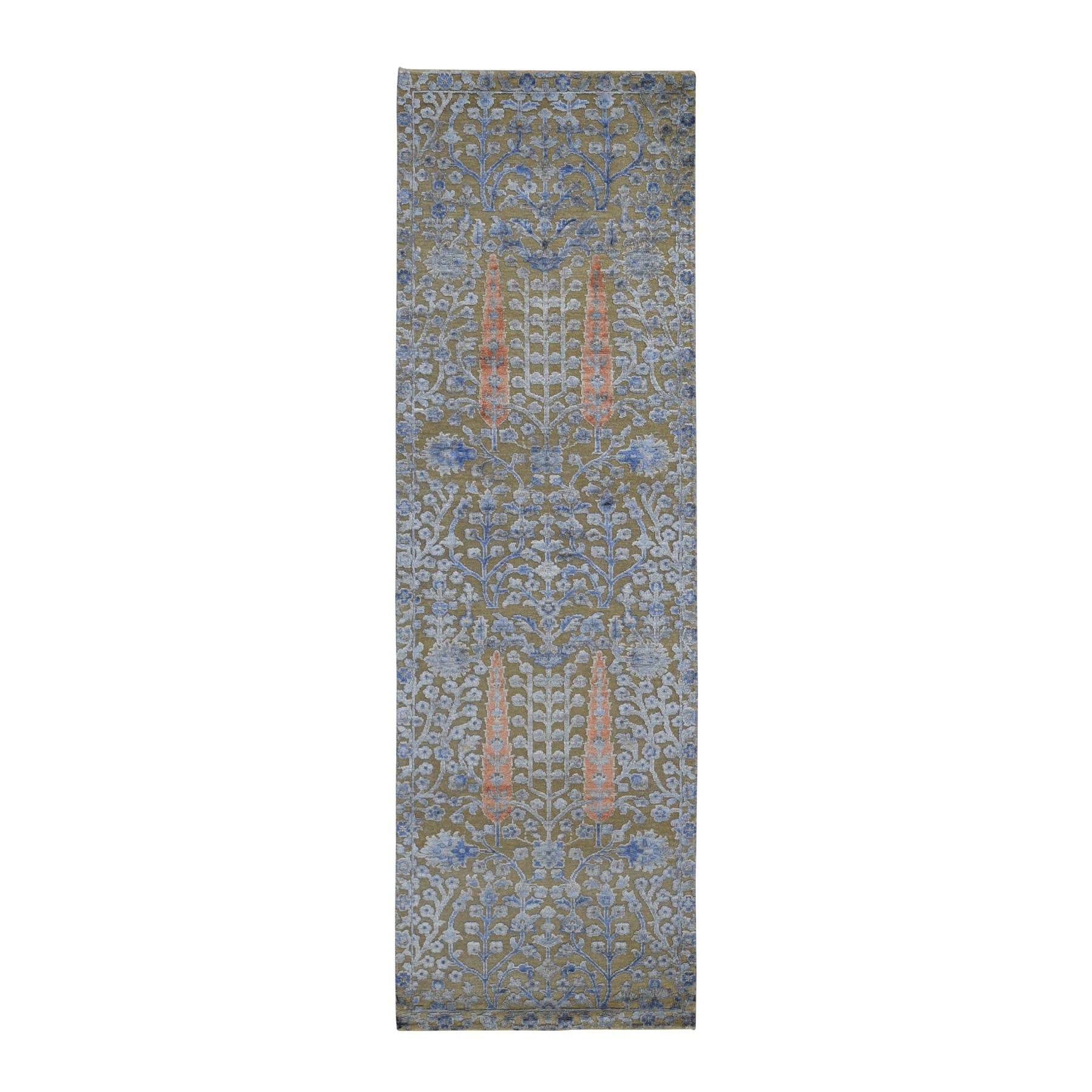"""2'6""""X8'2"""" Cypress Tree Design Silk With Textured Wool Runner Hand Knotted Oriental Rug moad9de7"""