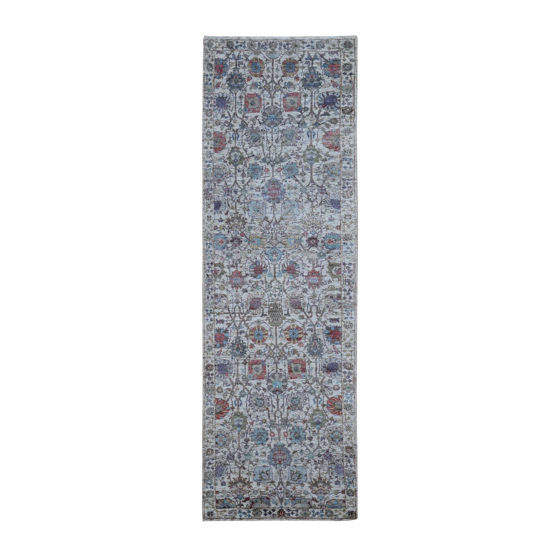 "2'7""x8'3"" Ivory Silk With Textured Wool Tabriz Hand Knotted Runner Oriental Rug"