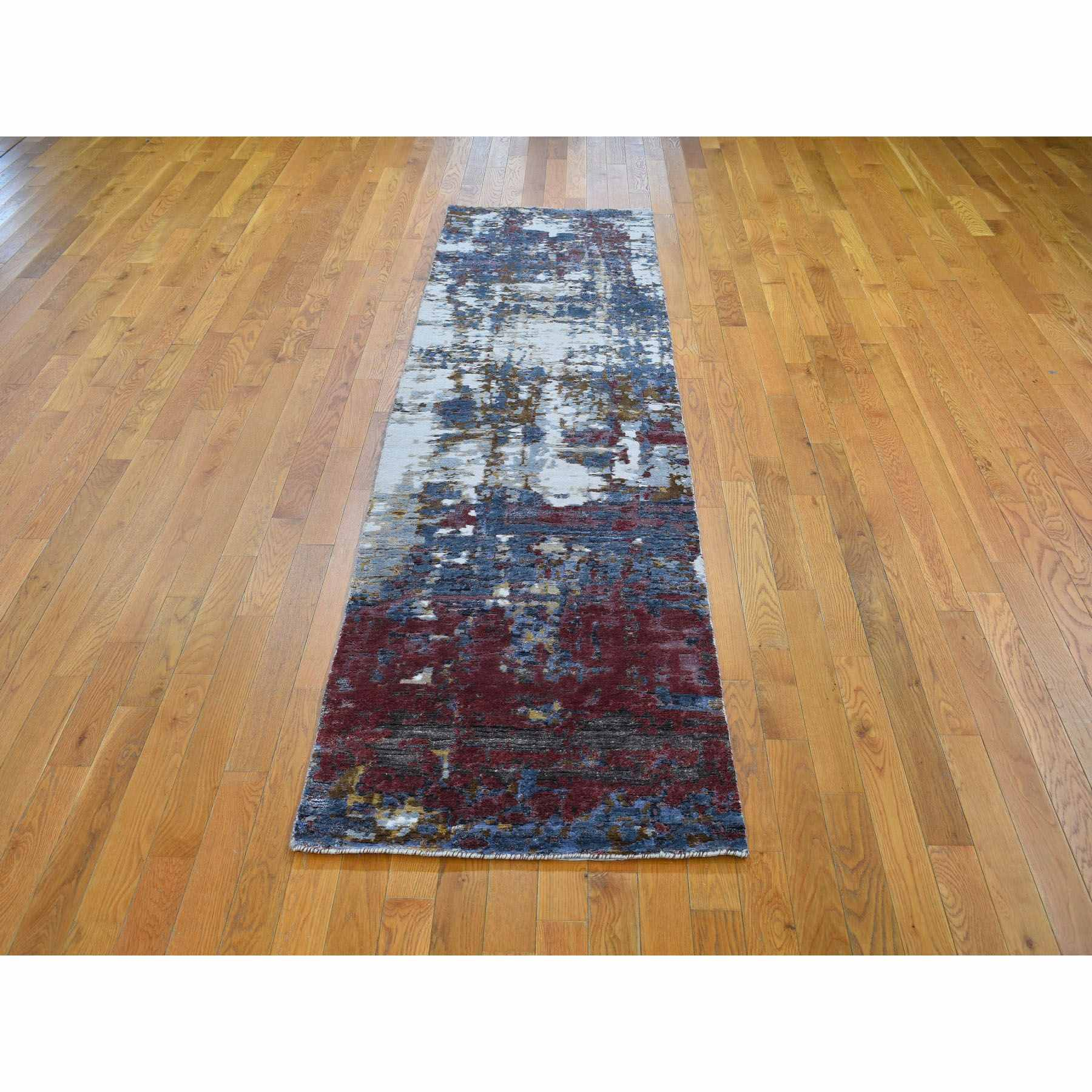 2-6 x10- Red Wool and Silk Hi-Low Pile Modern Abstract Design Runner Hand Knotted Oriental Rug