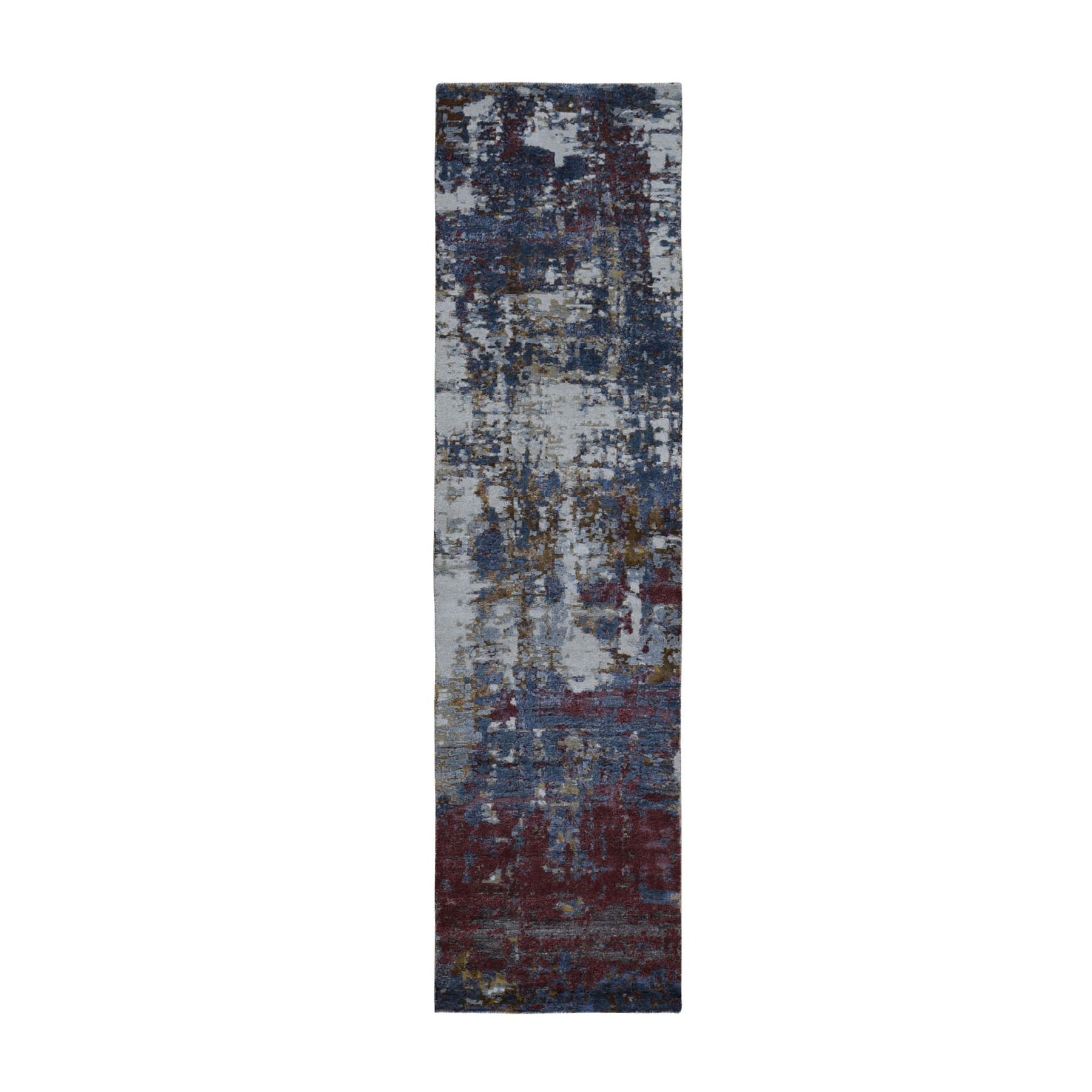 2-7 x8-1  Red Wool and Silk Hi-Low Pile Modern Abstract Design Hand Knotted Oriental Rug