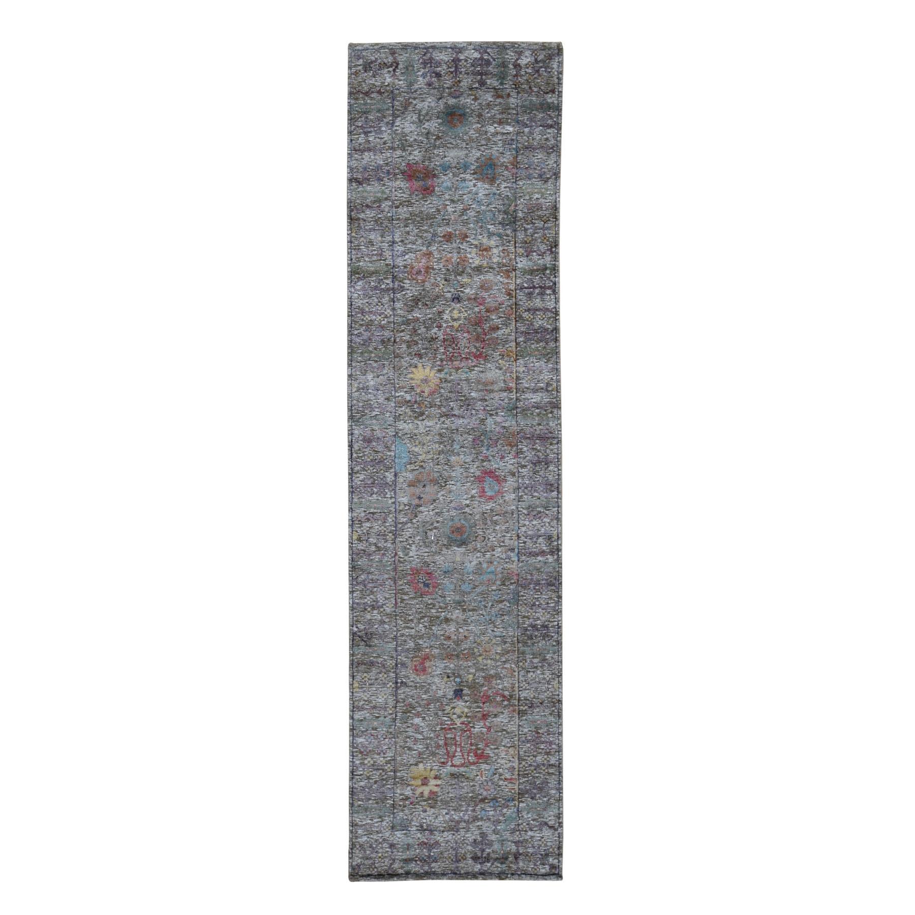 "2'6""x10' Honey Brown Silk With Textured Wool Vaze Design Runner Hand Knotted Oriental Rug 49474"