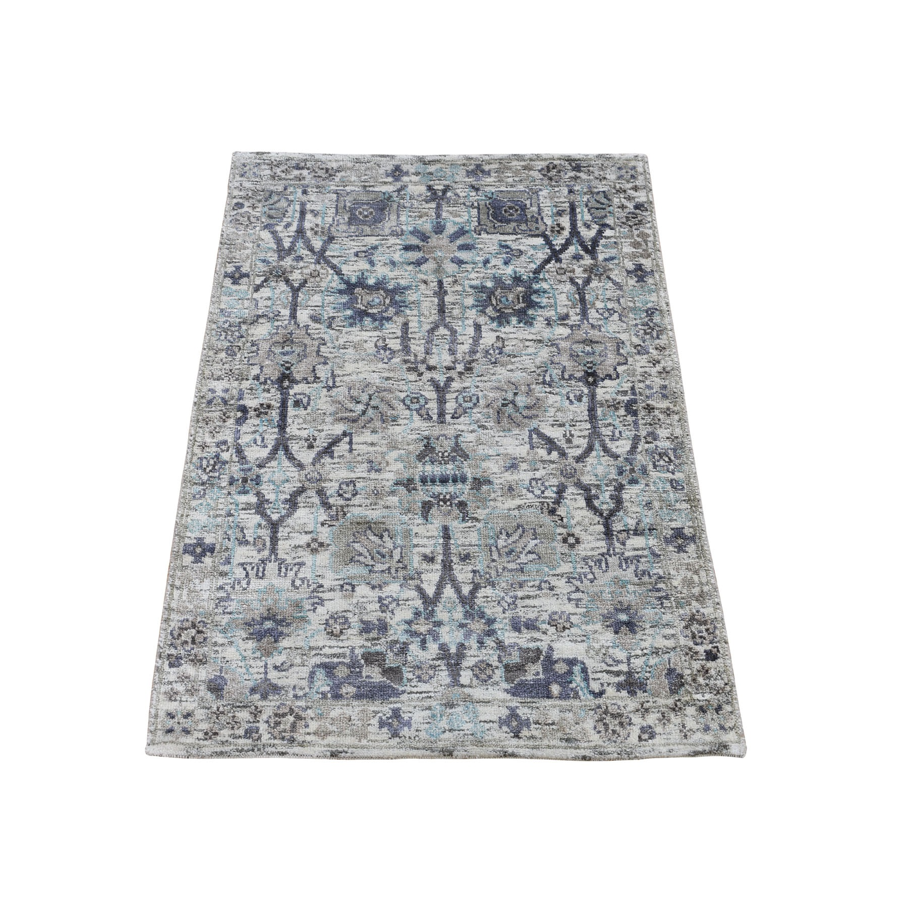 2-x3-1  Ivory Silk With Textured Wool Tabriz Hand Knotted Oriental Rug