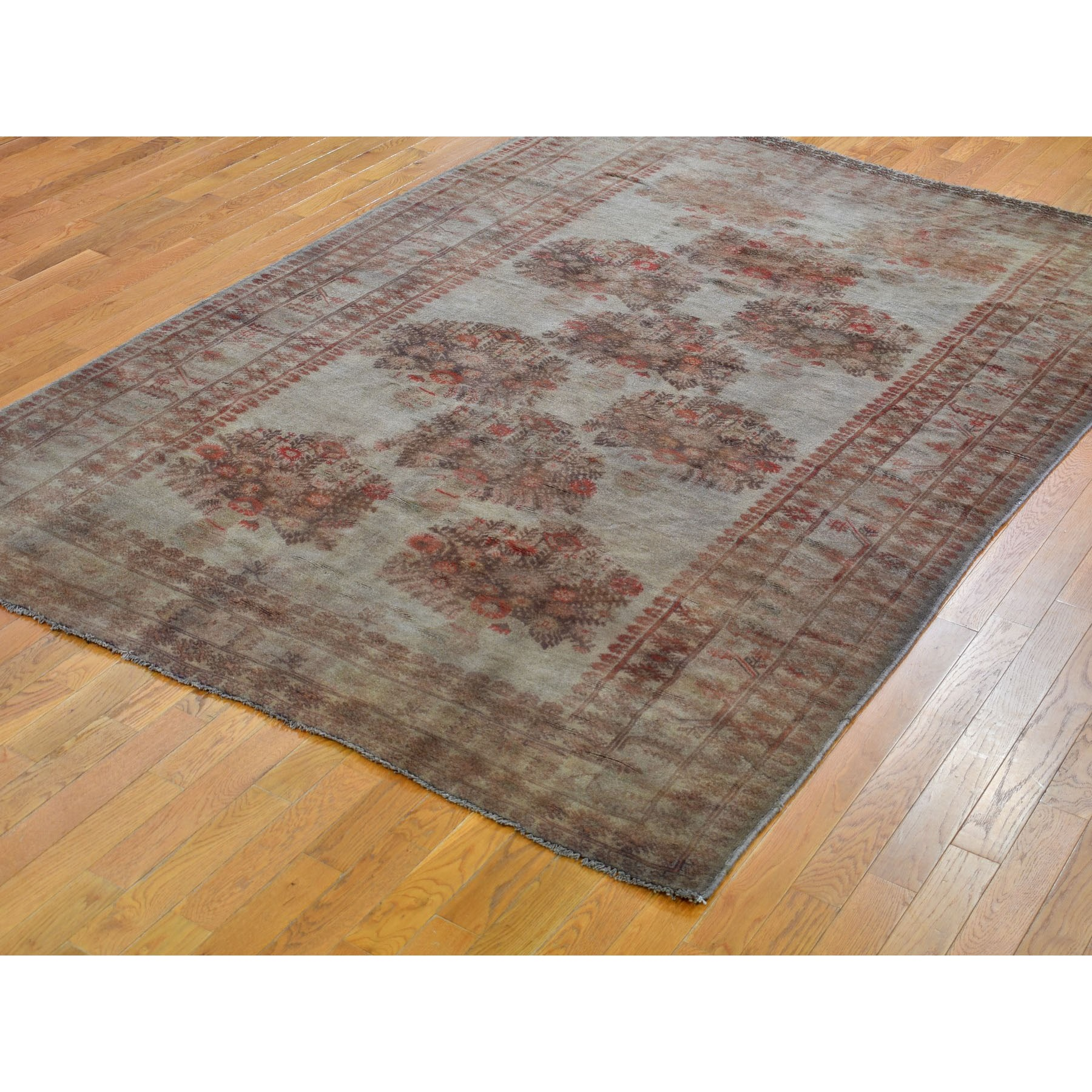 6-9 x9- Washed Out Afghan Baluch With pop Of Color Pure Wool Hand Knotted Oriental Rug