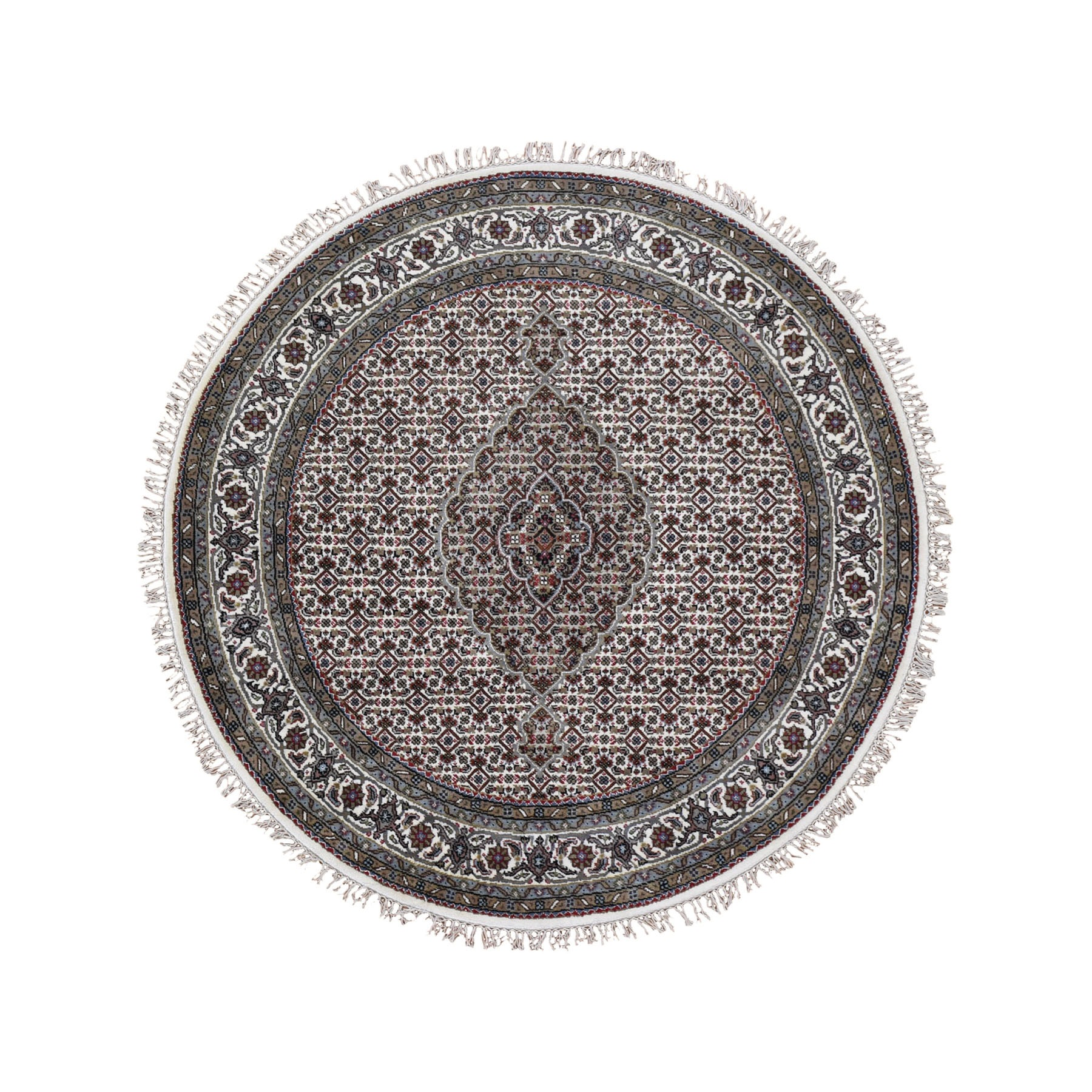 5'X5' Ivory Round Wool And Silk Tabriz Mahi Design Hand Knotted Oriental Rug moad9d8c