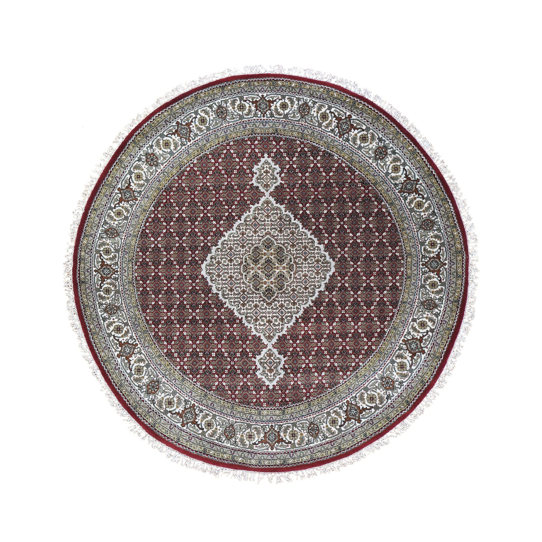 """6'8""""X6'8"""" Round Red Tabriz Mahi Wool And Silk Hand Knotted Oriental Rug moad9d8d"""