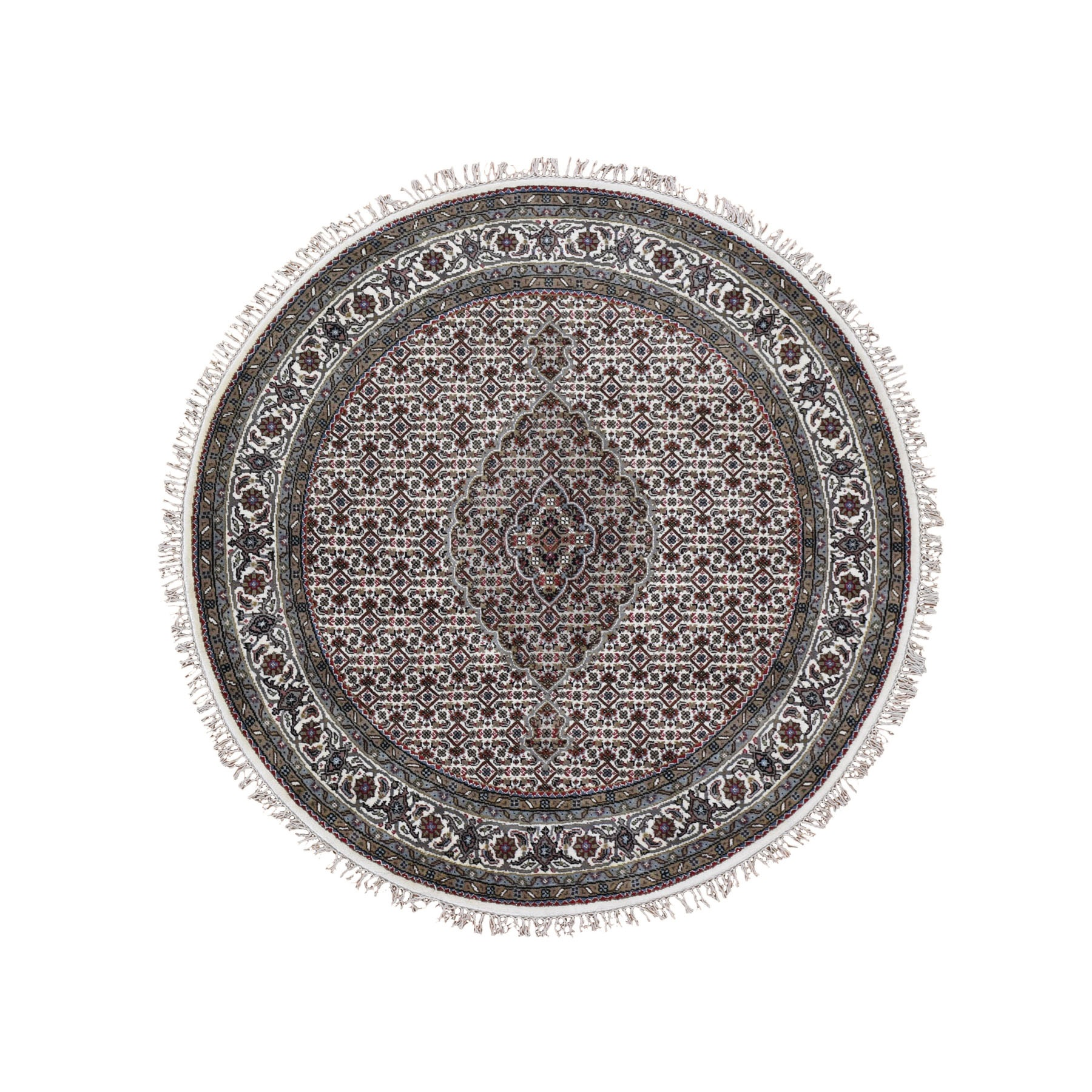 """5'2""""X5'2"""" Ivory Round Wool And Silk Tabriz Mahi Design Hand Knotted Oriental Rug moad9d8e"""