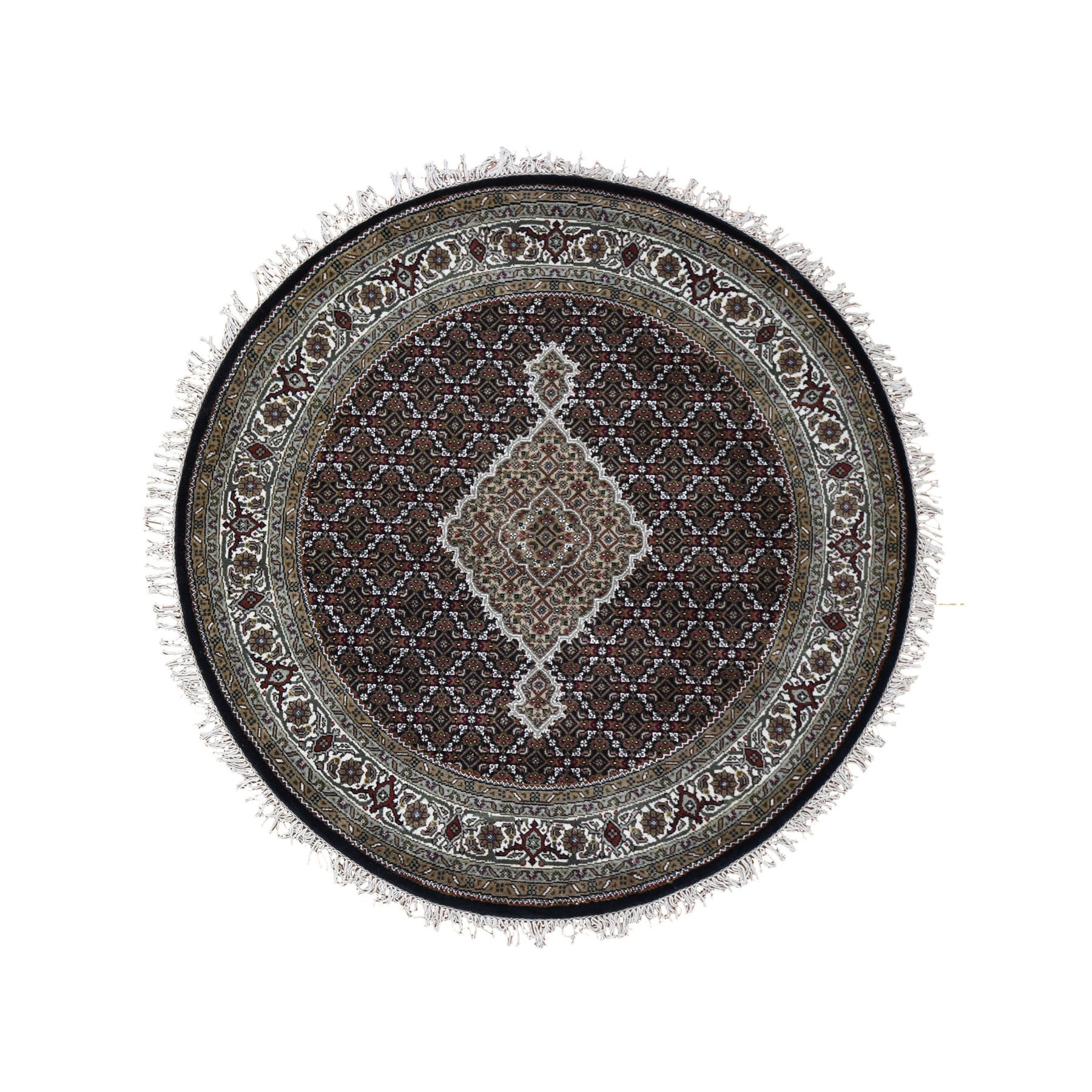 """5'2""""X5'2"""" Round Black Tabriz Mahi Wool And Silk Hand Knotted Oriental Rug moad9d86"""