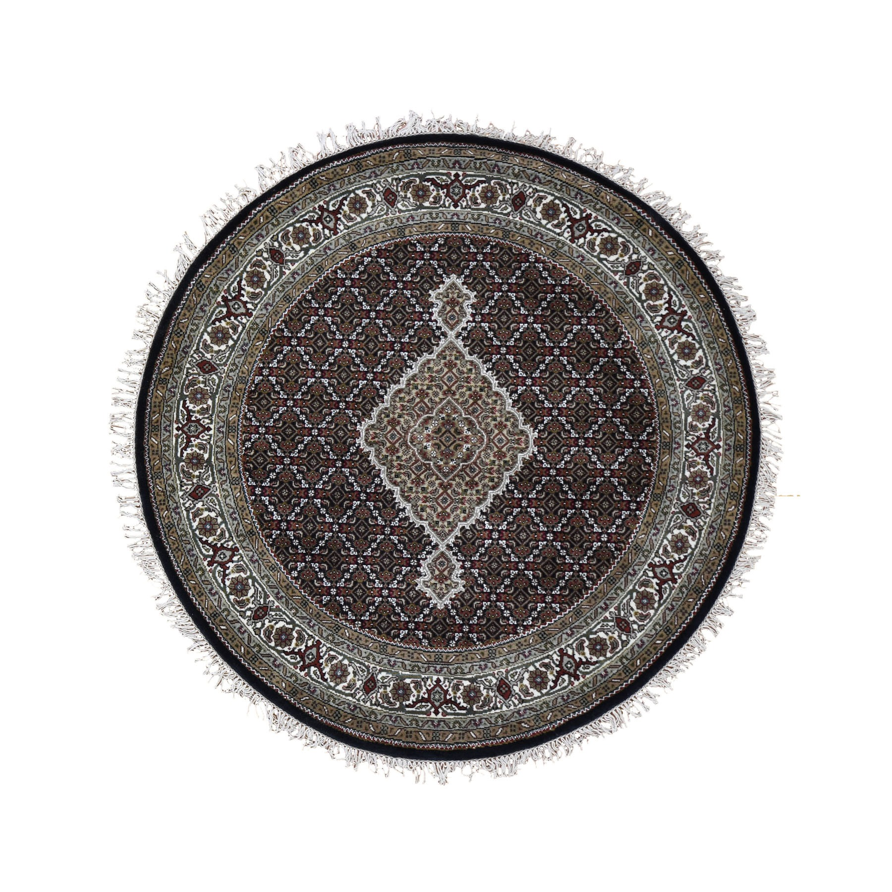 """5'1""""X5'1"""" Round Black Tabriz Mahi Wool And Silk Hand Knotted Oriental Rug moad9d87"""