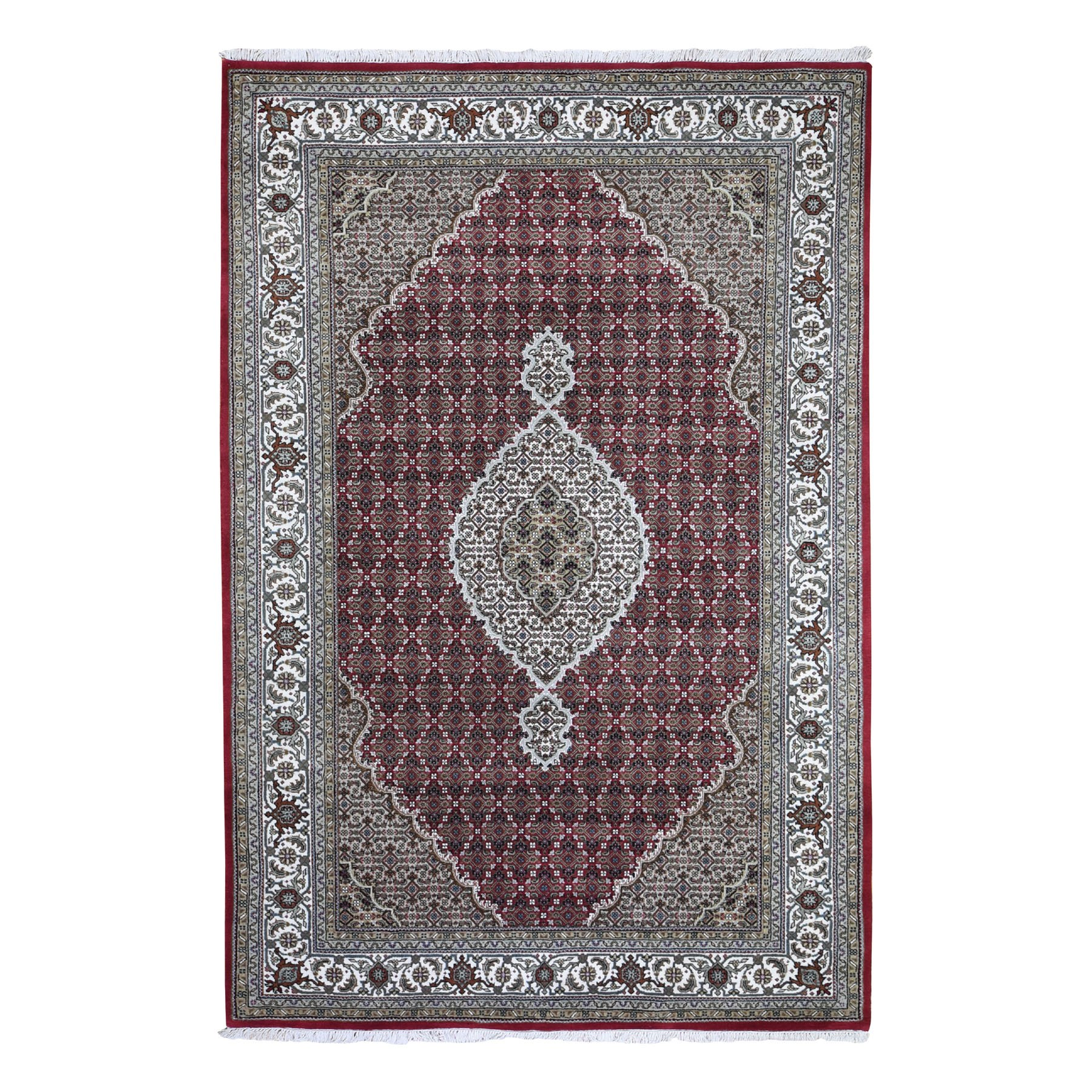 "6'X9'2""  Red Tabriz Mahi Wool And Silk Hand Knotted Oriental Rug moad9d88"