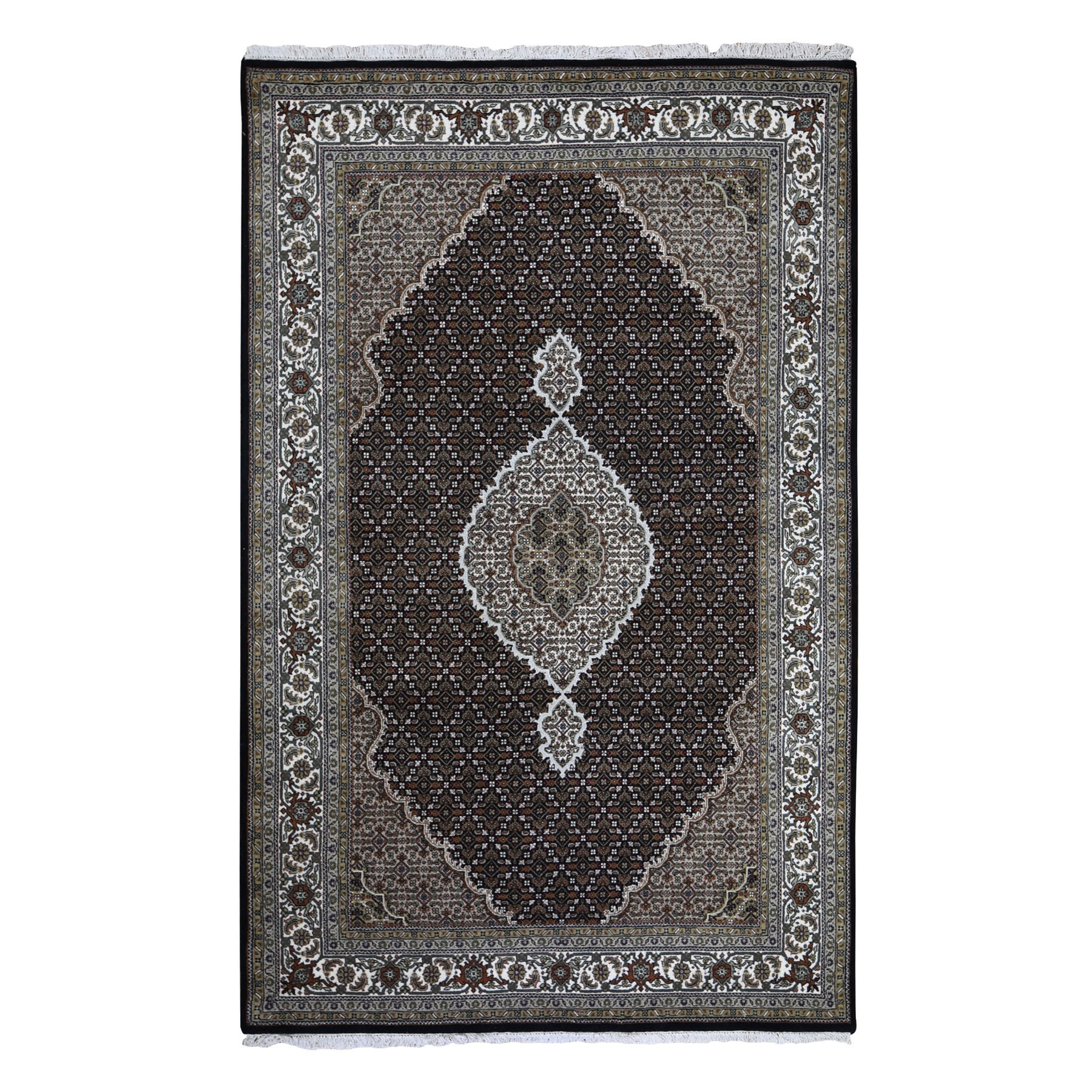 "5'10""X9' Black Tabriz Mahi Wool And Silk Hand Knotted Oriental Rug moad9d90"
