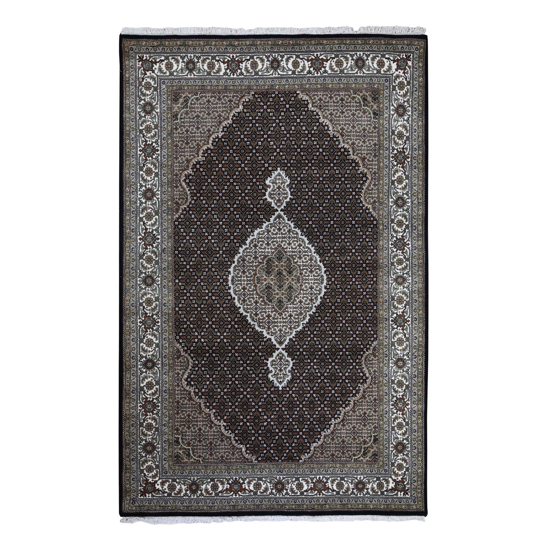 "5'10""x8'10""  Black Tabriz Mahi Wool And Silk Hand Knotted Oriental Rug 49491"