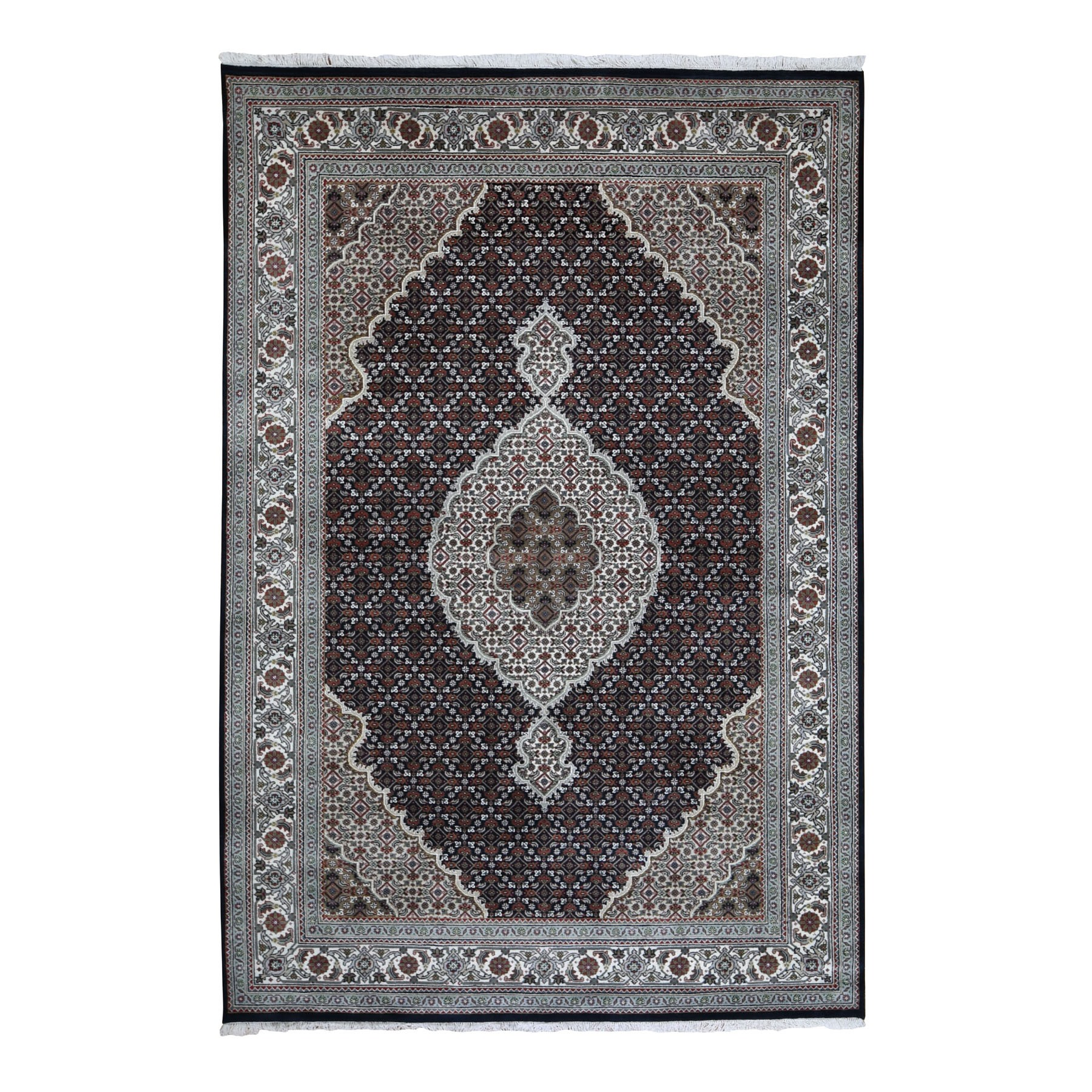 "6'X8'10"" Black Tabriz Mahi Wool And Silk Hand Knotted Oriental Rug moad9d9b"