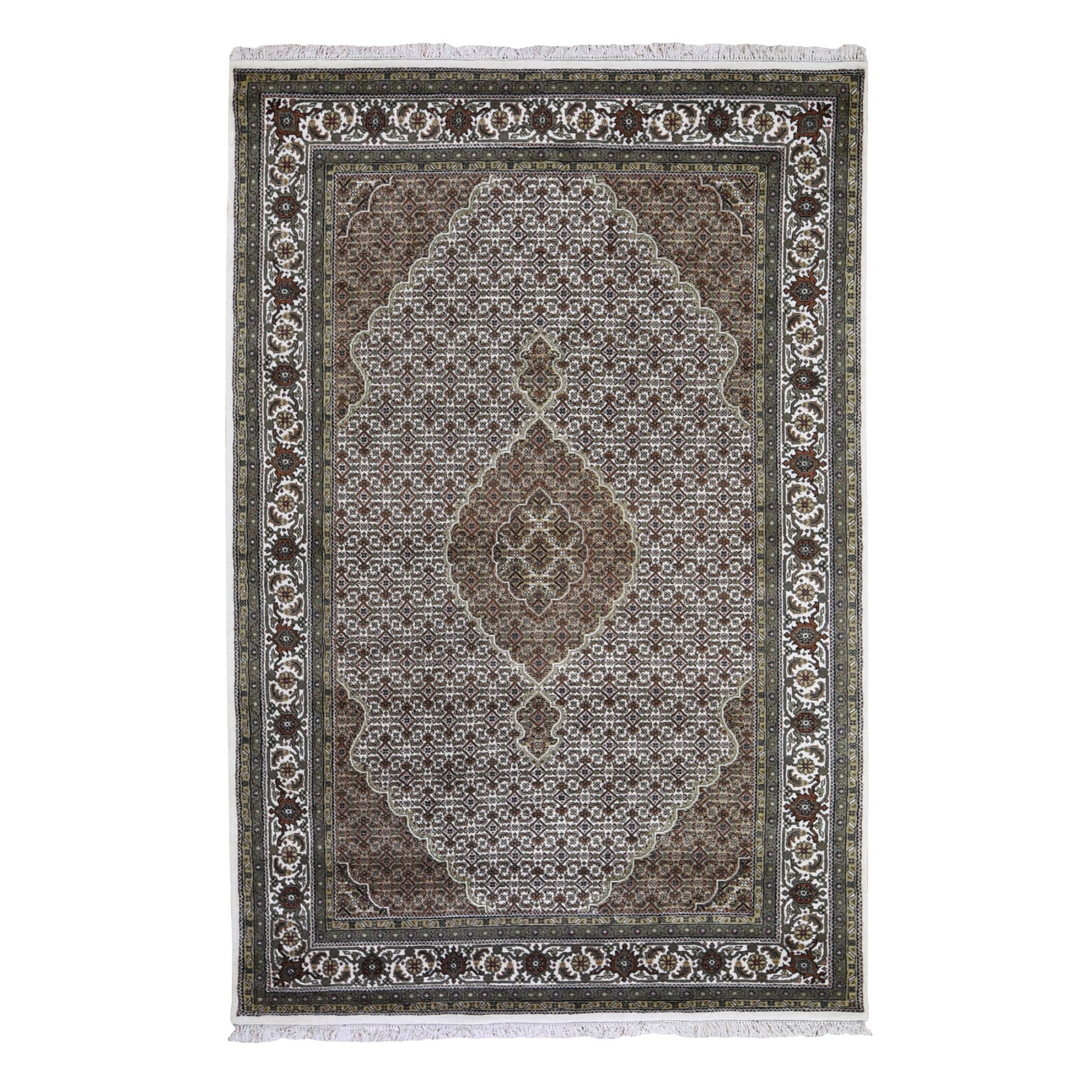 "5'10""x9'3"" Ivory Wool And Silk Tabriz Mahi Design Hand Knotted Oriental Rug 49493"